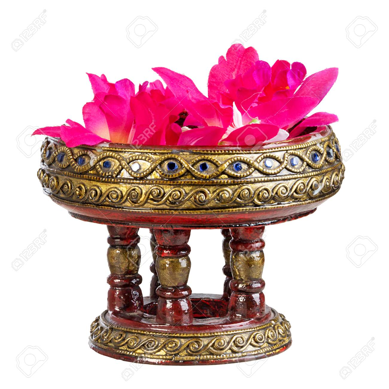 Wooden Handicrafts Of Thailand Northernadorned With Flowers Stock