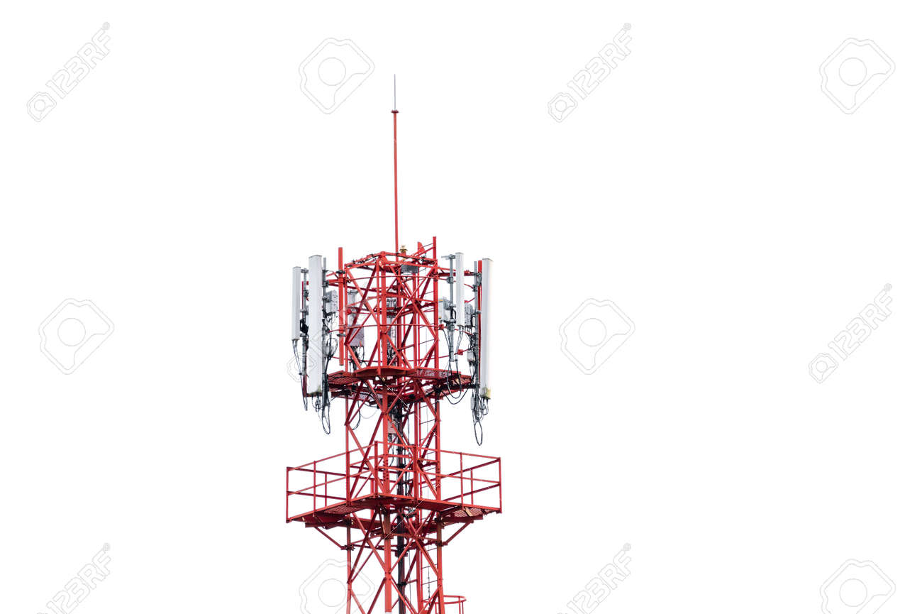 Top of telecommunication tower with wireless antenna on white background - 168318611