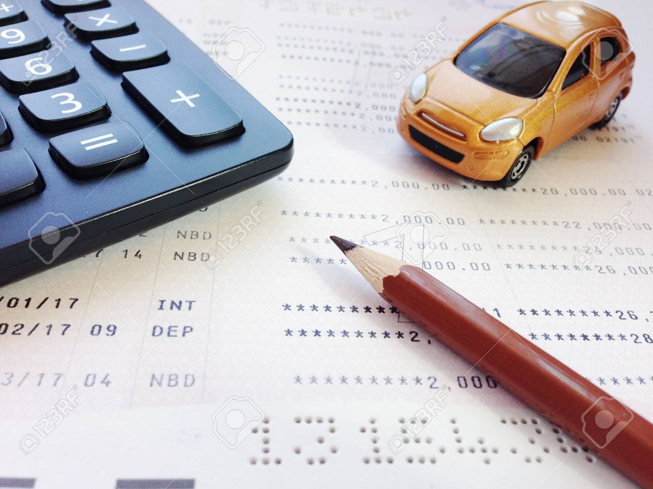 Business Finance Savings Banking Or Car Loan Concept Miniature