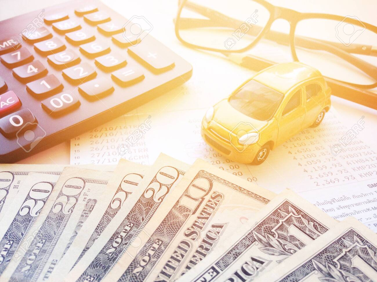 Business Finance Saving Money Or Car Loan Concept Top View Stock Photo Picture And Royalty Free Image Image 126599965