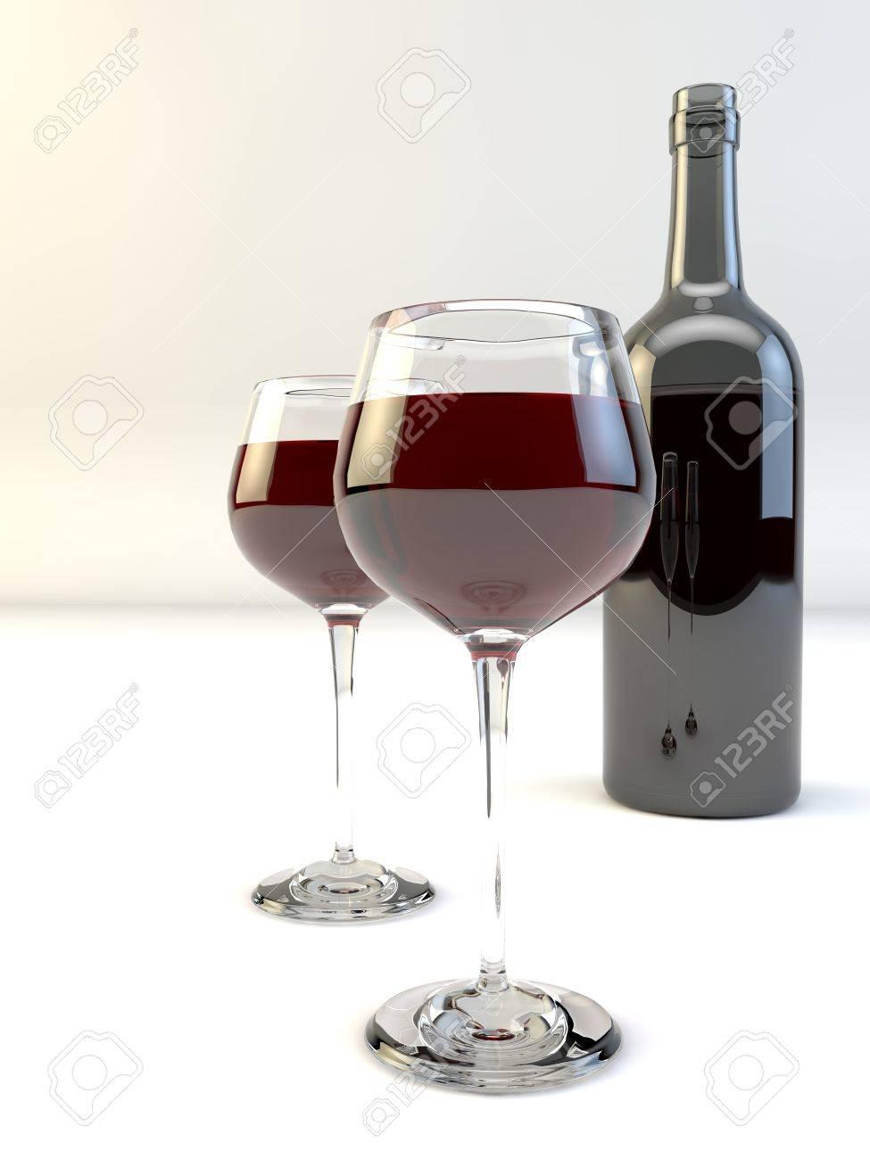 illustration glasses and wine bottle, isolated Stock Illustration - 19377479