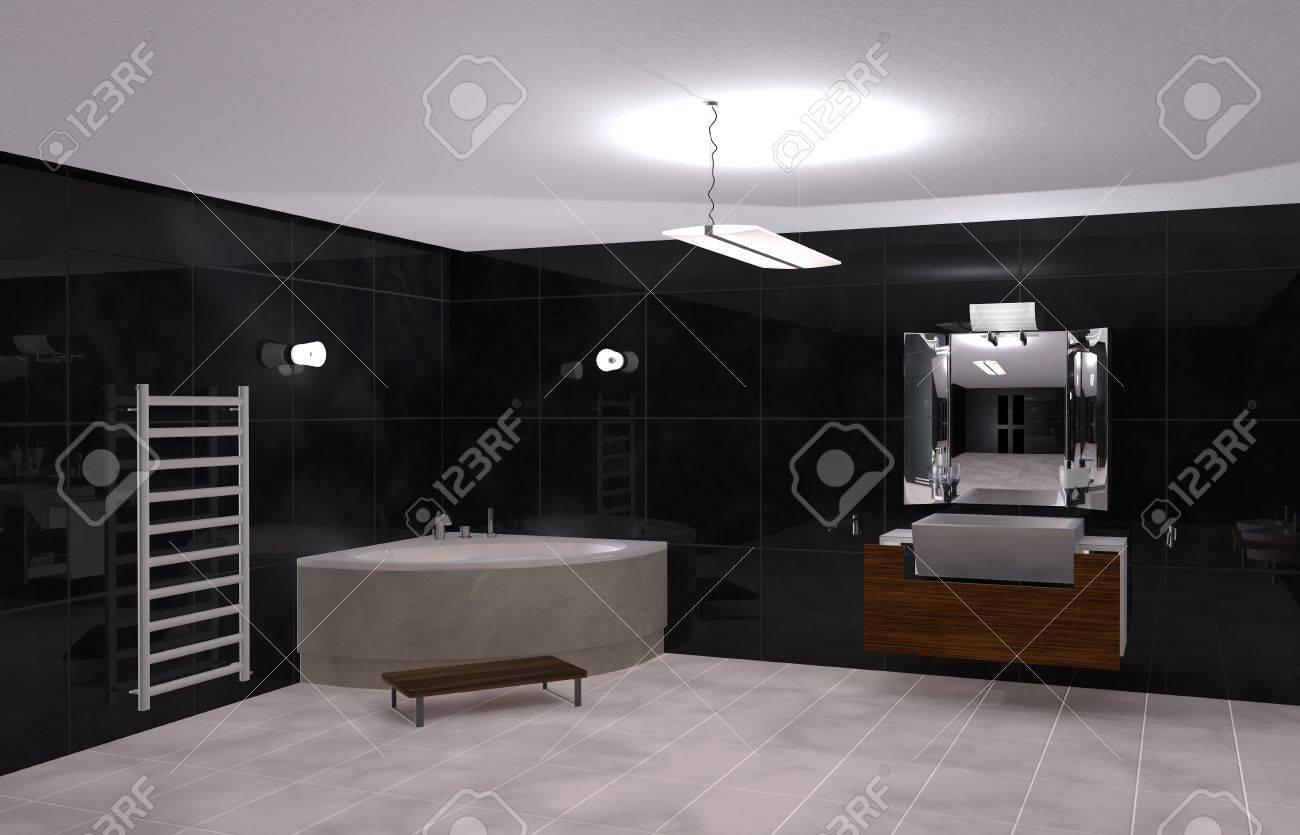 illustration modernes bad in schwarz und weiß lizenzfreie fotos, Wohnideen design