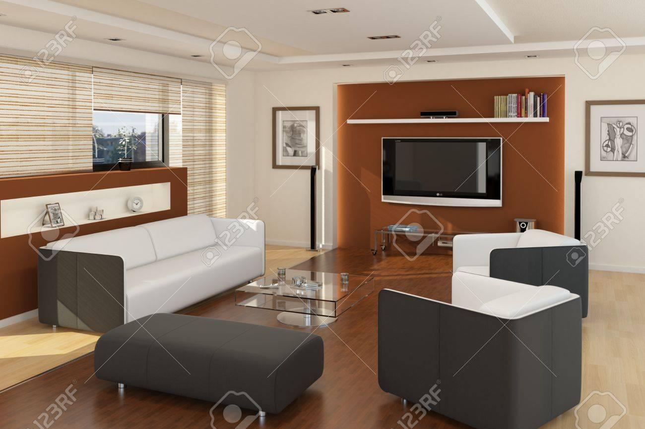 banque dimages ordinateur illustration rendu salon moderne avec tv et plancher en bois - Salon Moderne Bois