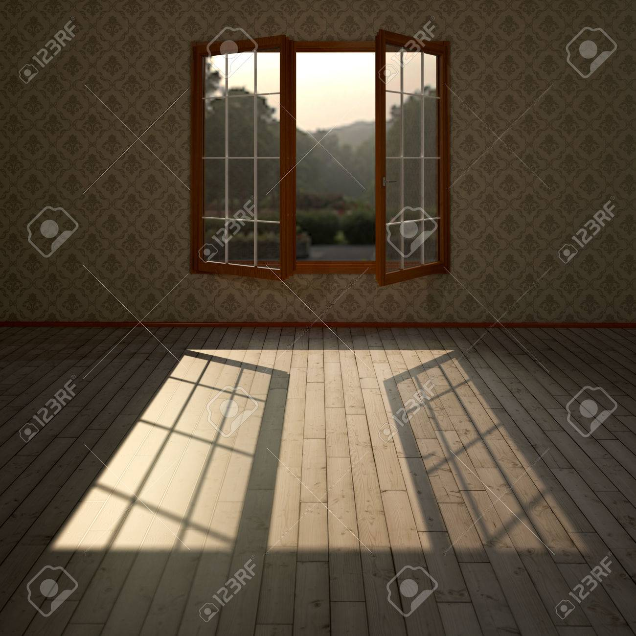 Wohnzimmer Mit Offenem Fenster Und Viel Naturliches Licht Auf Dem