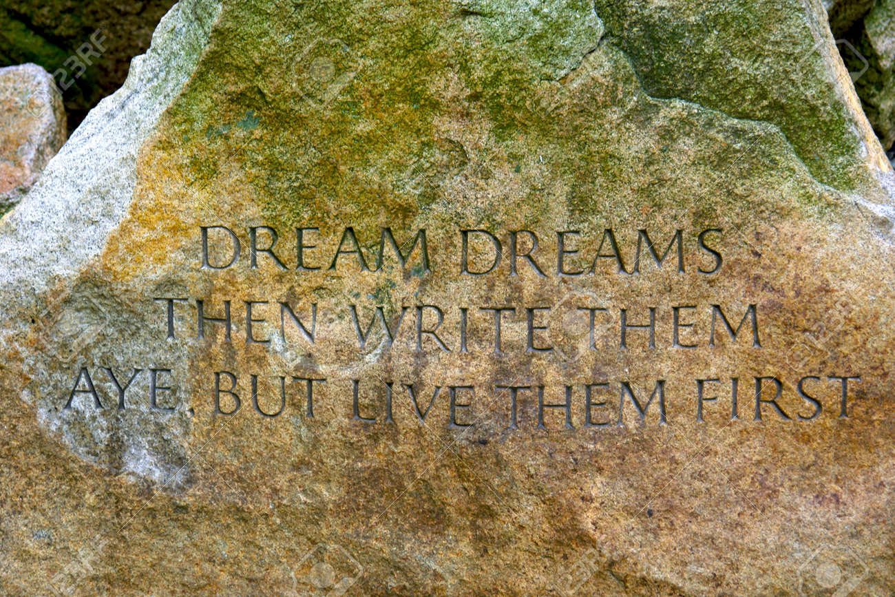 Famous Quote Carved On Large Stone In The Public Gardens In Boston ...