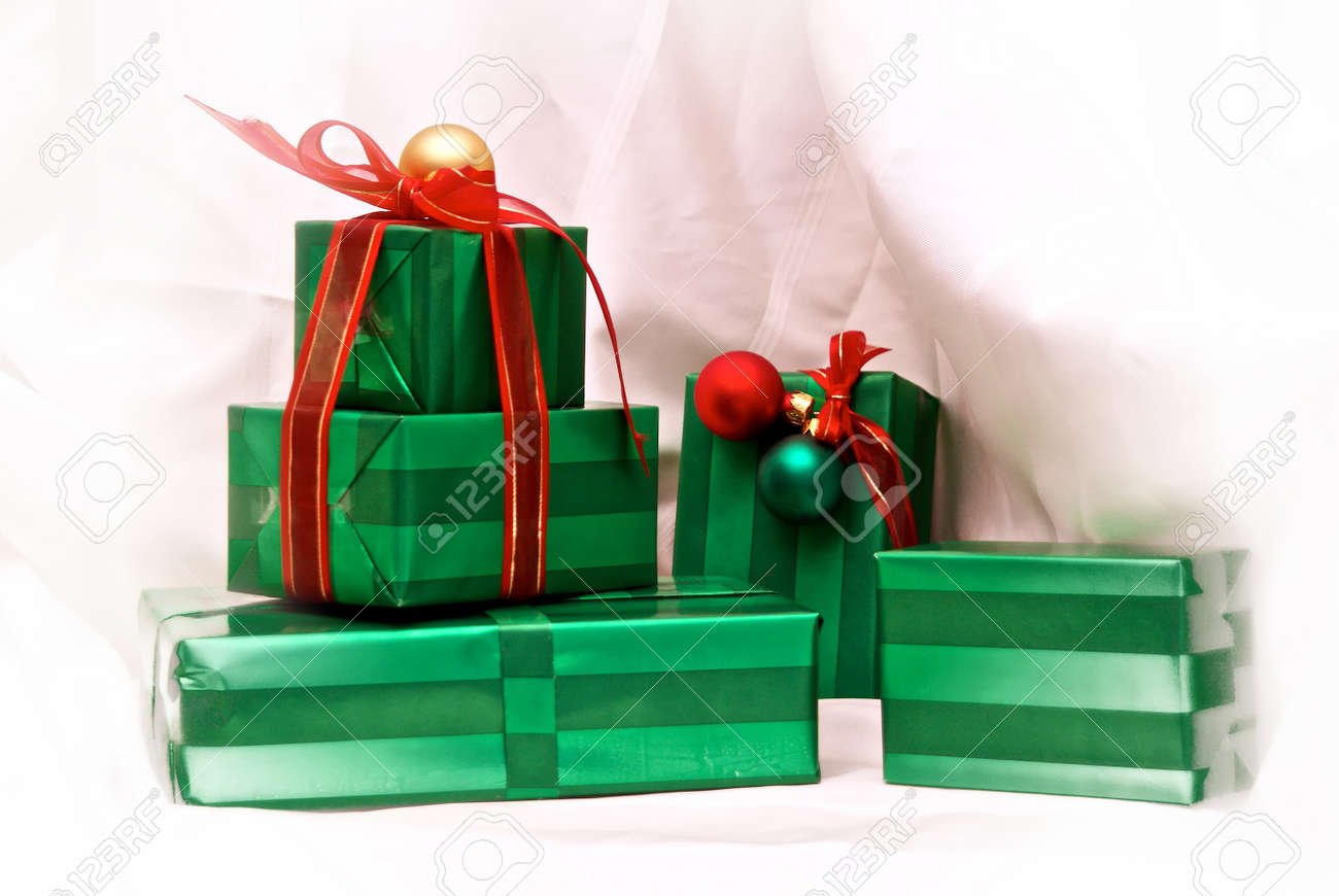 Stack Of Beautifully Wrapped And Well Adorned Christmas Presents ...