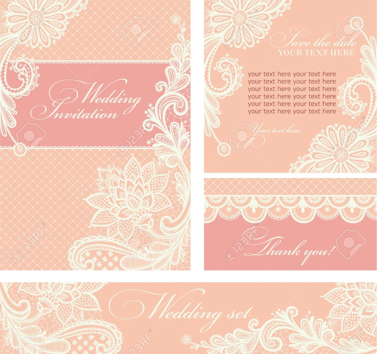 Set Of Wedding Invitations And Announcements With Vintage Lace ...