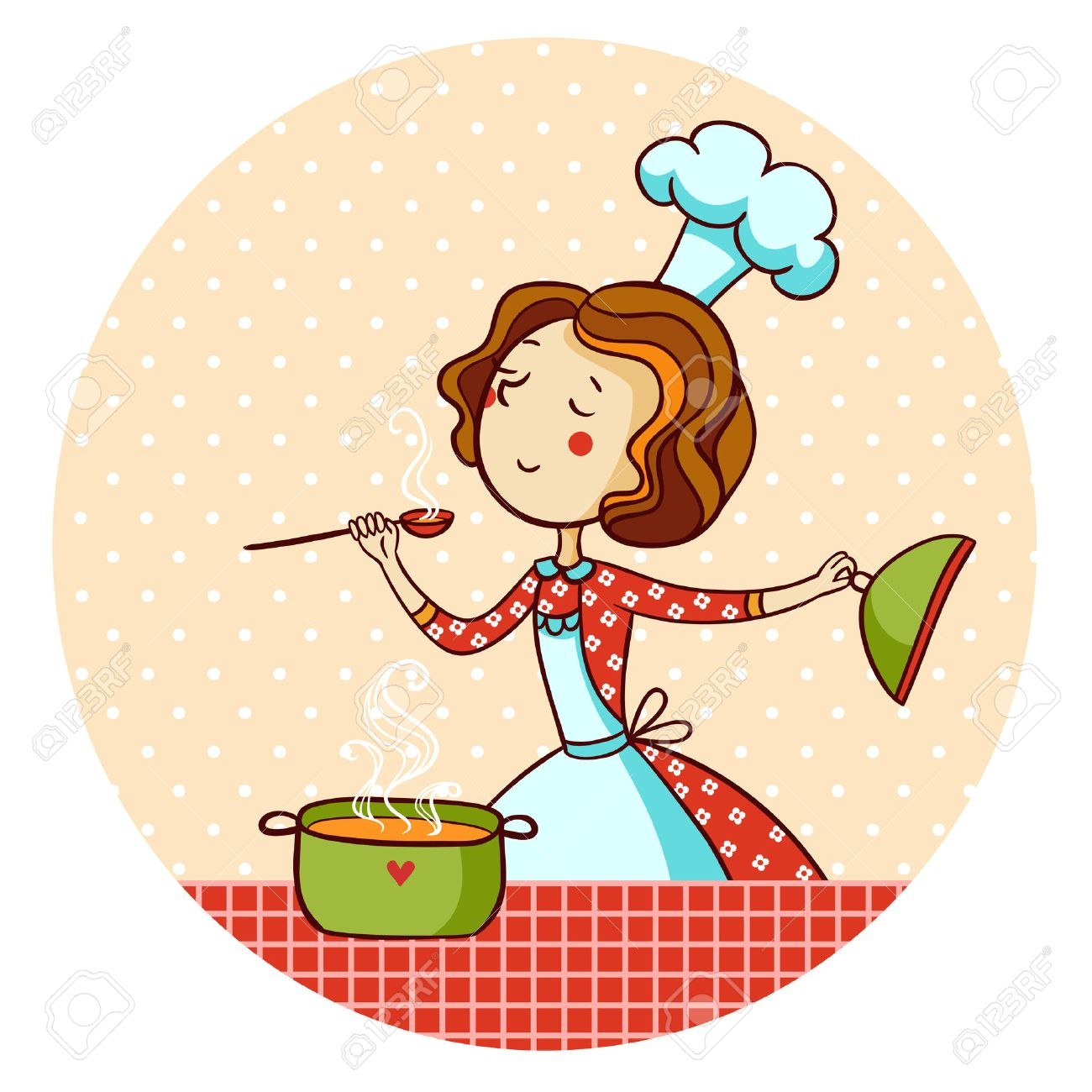 Woman cooking soup. Housewife cooking dinner. - 37455840