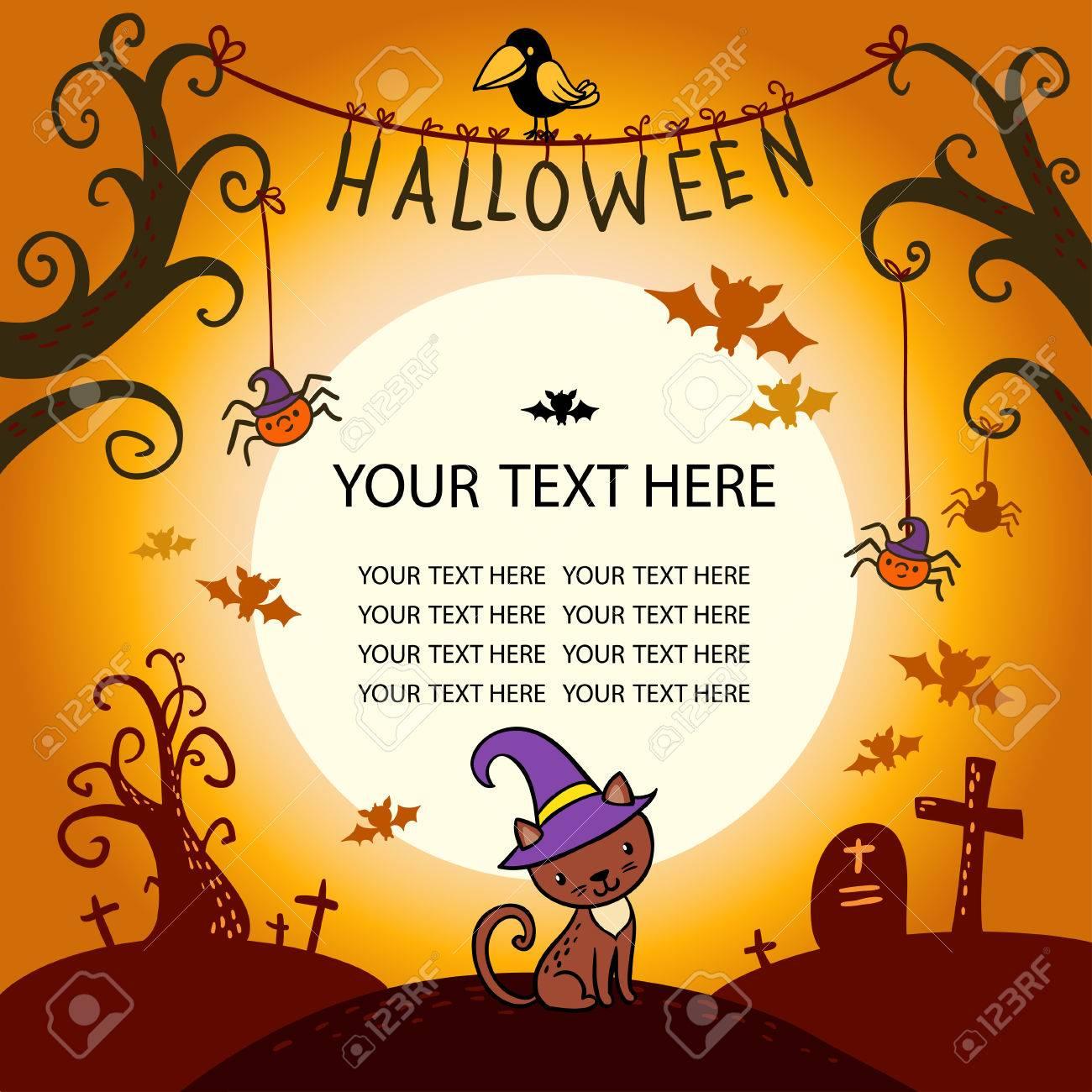 Halloween border for design in a children's style. - 44705209