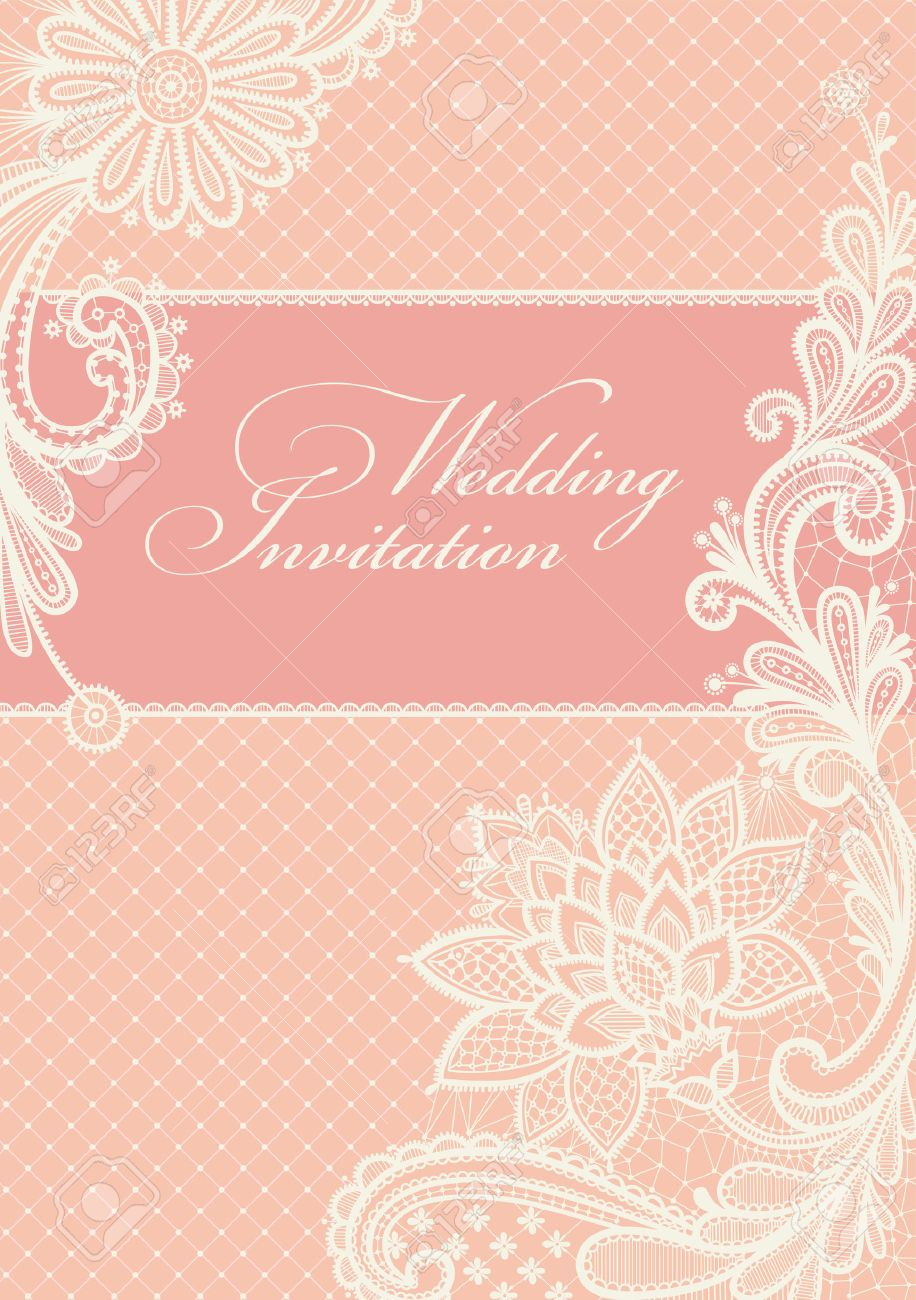 Wedding Invitations And Announcements With Vintage Lace Background ...