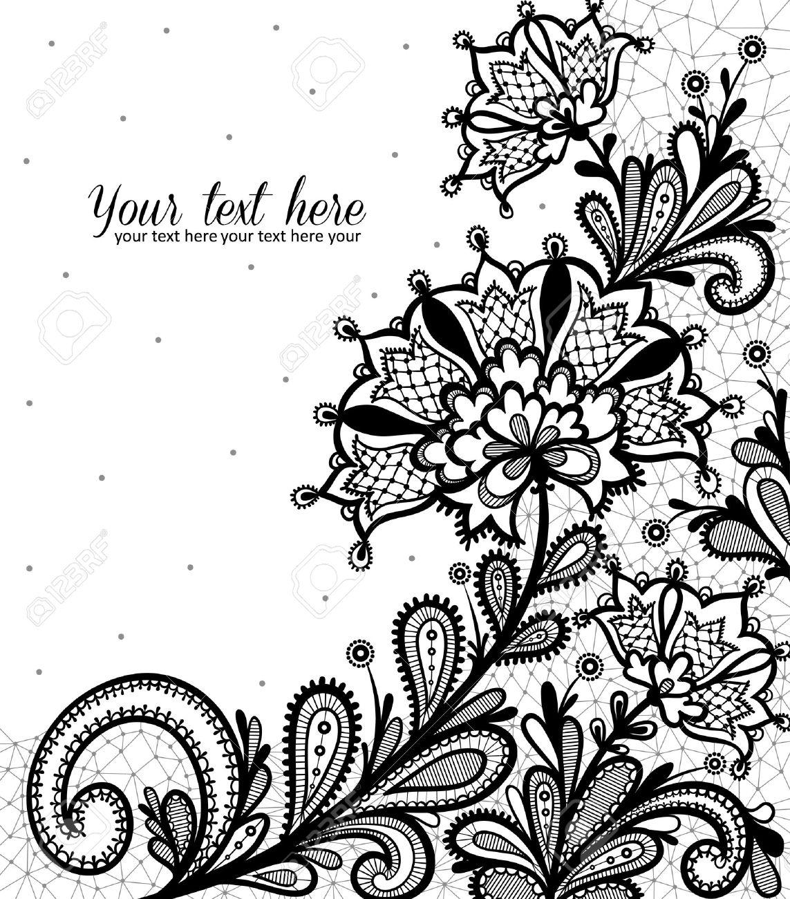 Black lace vector design. - 45531756