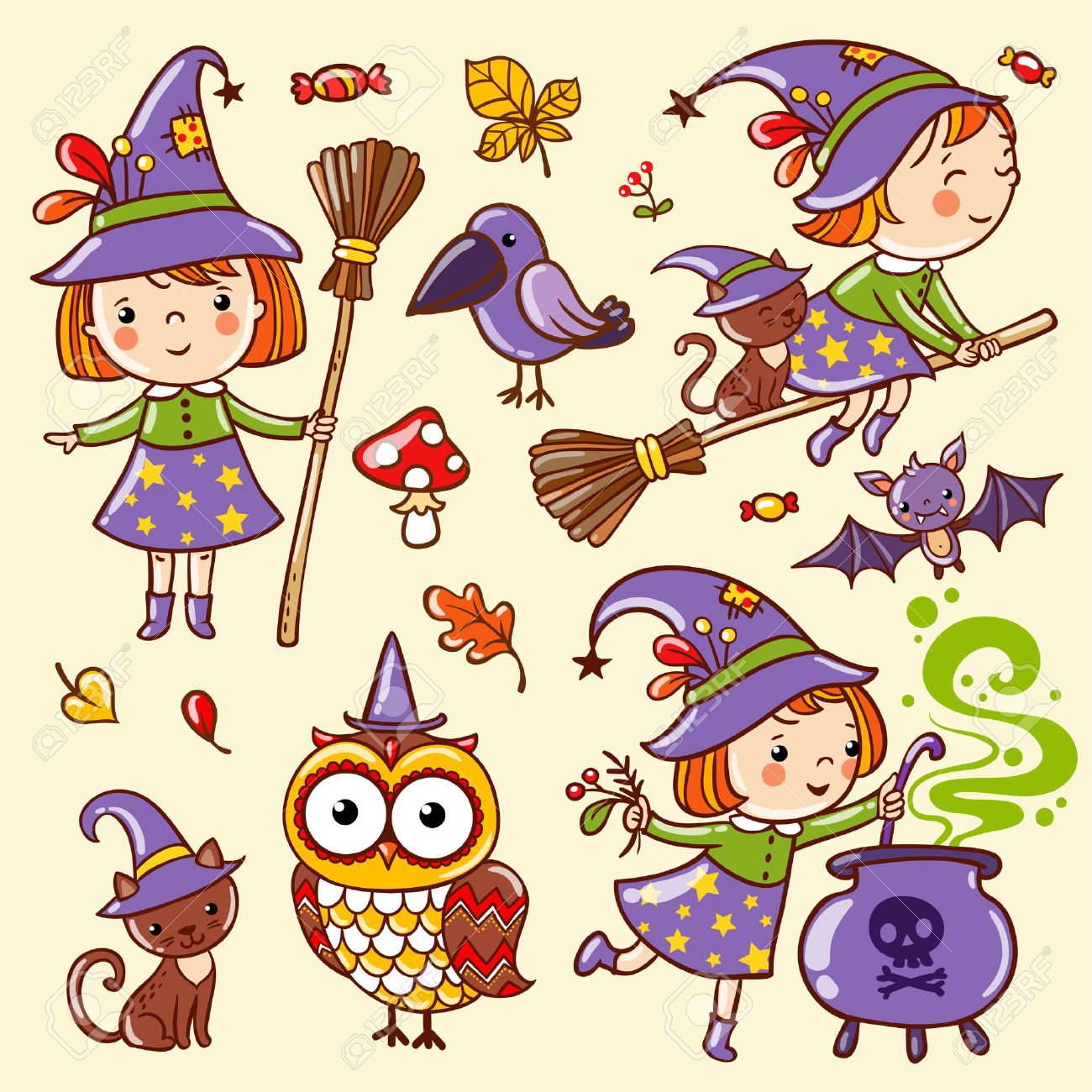 Cartoon Halloween seamless pattern with funny witches. - 47222455