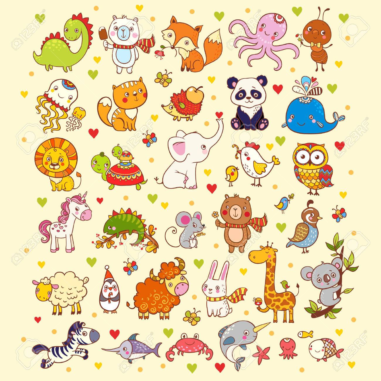 Vector illustration of a set of animals. - 47226875
