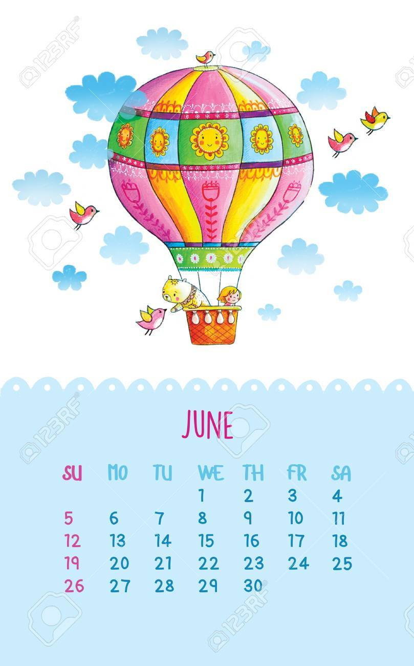 June Cartoon Illustration With Balloon Teddy Bear And A Girl