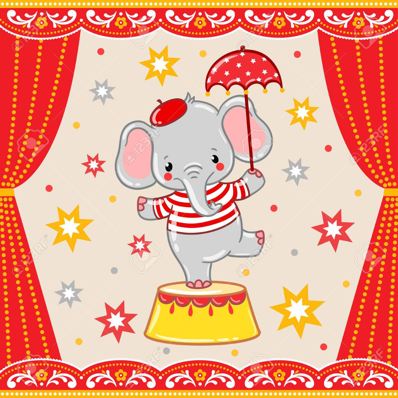 Circus happy birthday card design. Children vector illustration of a cute Circus elephant standing on a circus tub. - 48498153