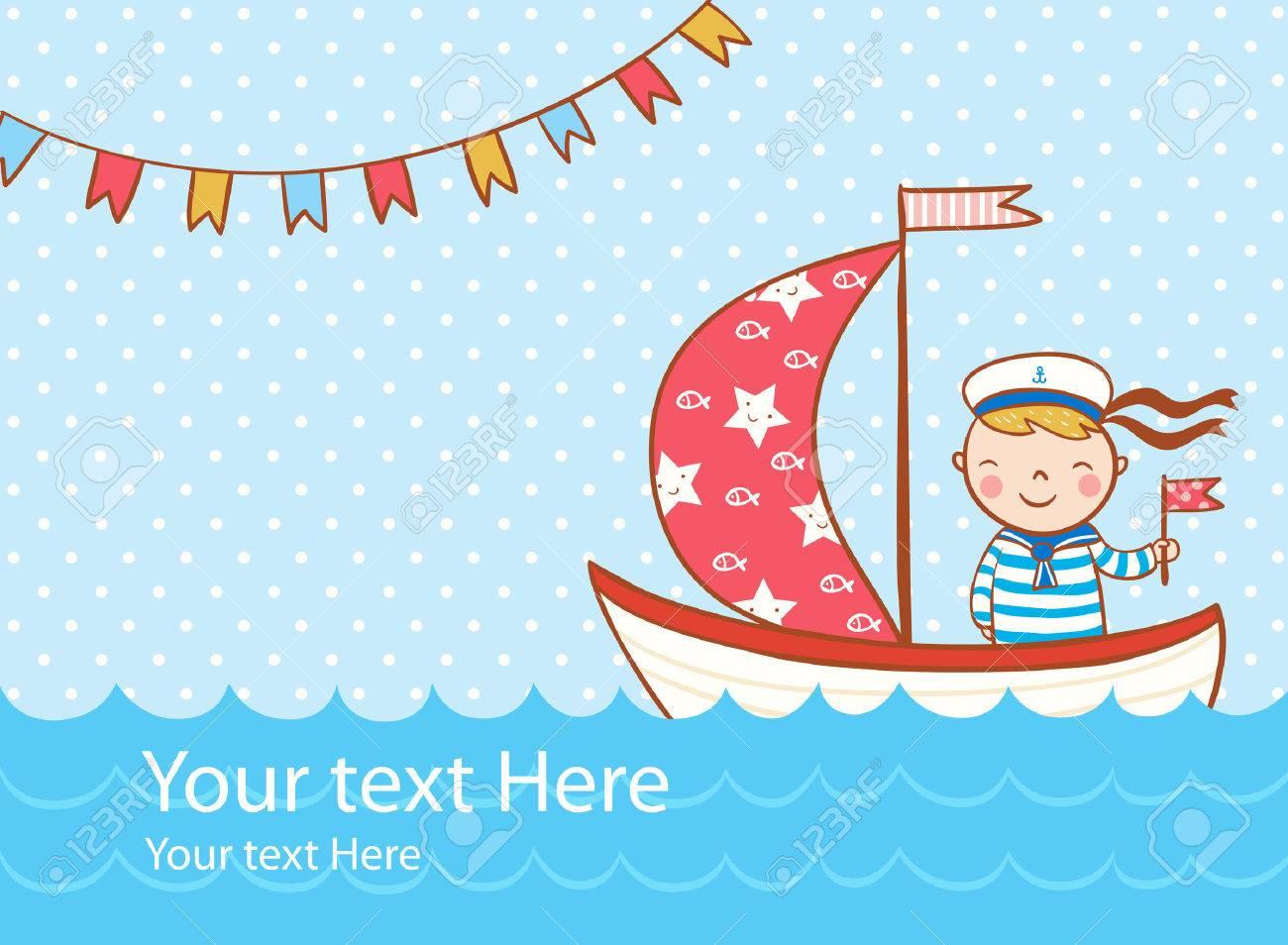 Beautiful greeting card with boy, ship and sea. - 48473912