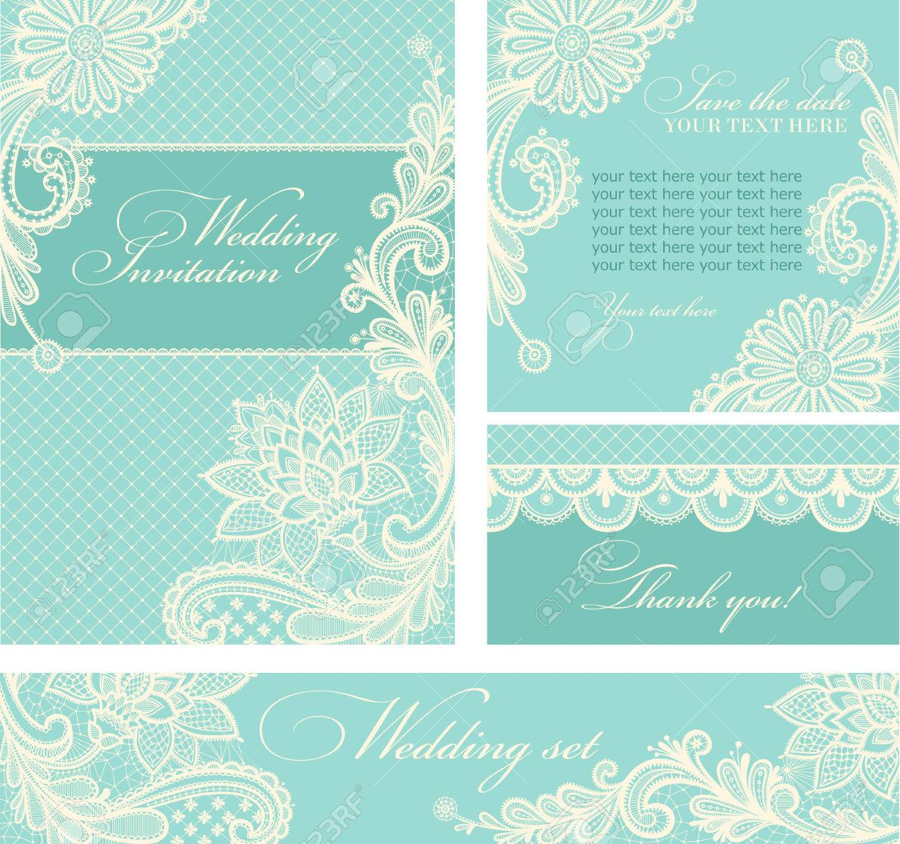 Set of wedding invitations and announcements with vintage lace background. Stock  Vector - 48833160 f1b6d073d
