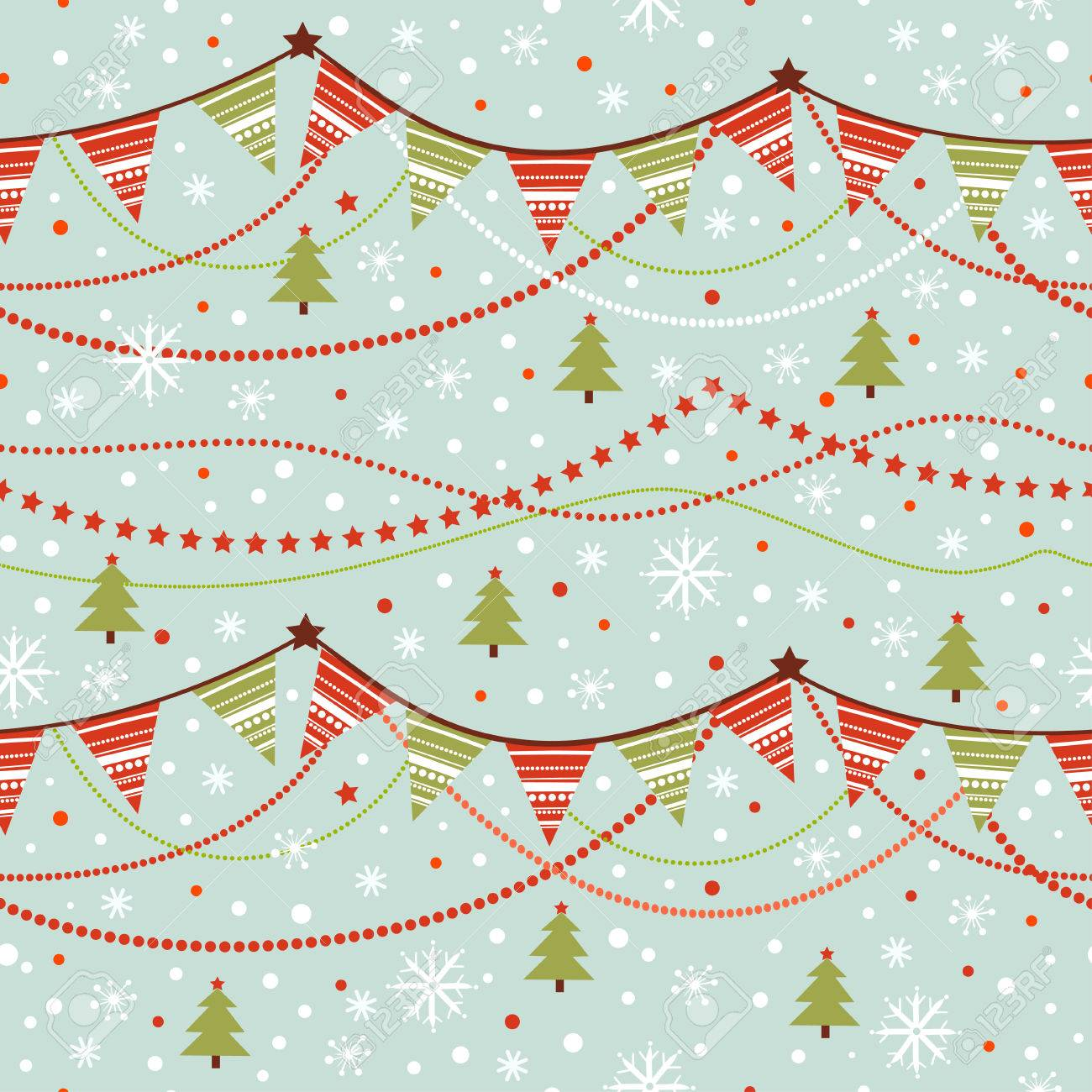 Party pennant bunting. Christmas seamless pattern with garland and snowflakes in cartoon style. - 49571810