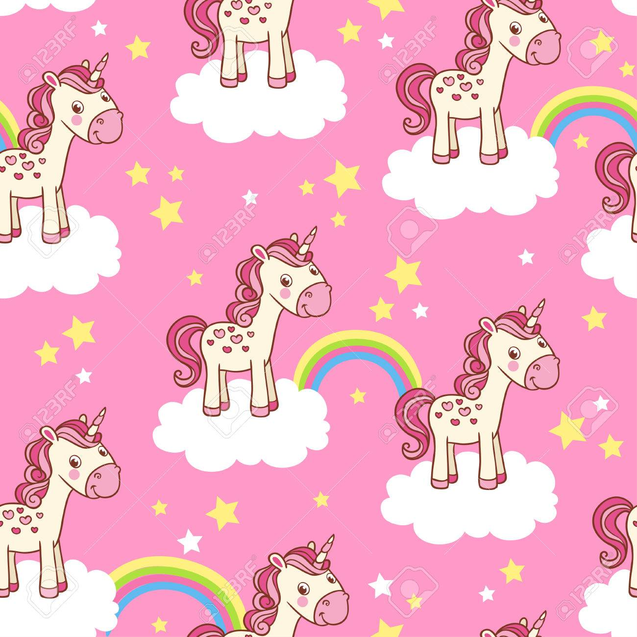 Vector childish background for girl. Vector seamless with cartoon illustration of horses in the clouds with a rainbow on a pink background. - 50996412