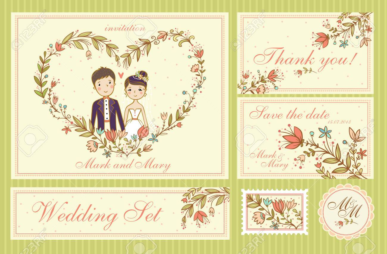 Wedding Set. Set of wedding invitation cards, thank you card, save the date cards. - 51633216