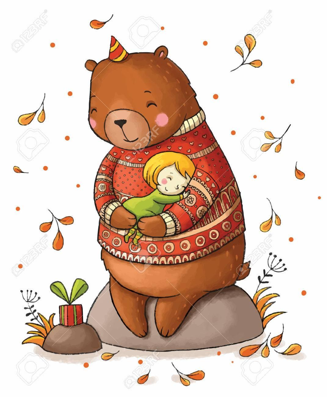 Brown teddy bear hugging a girl. - 51949282