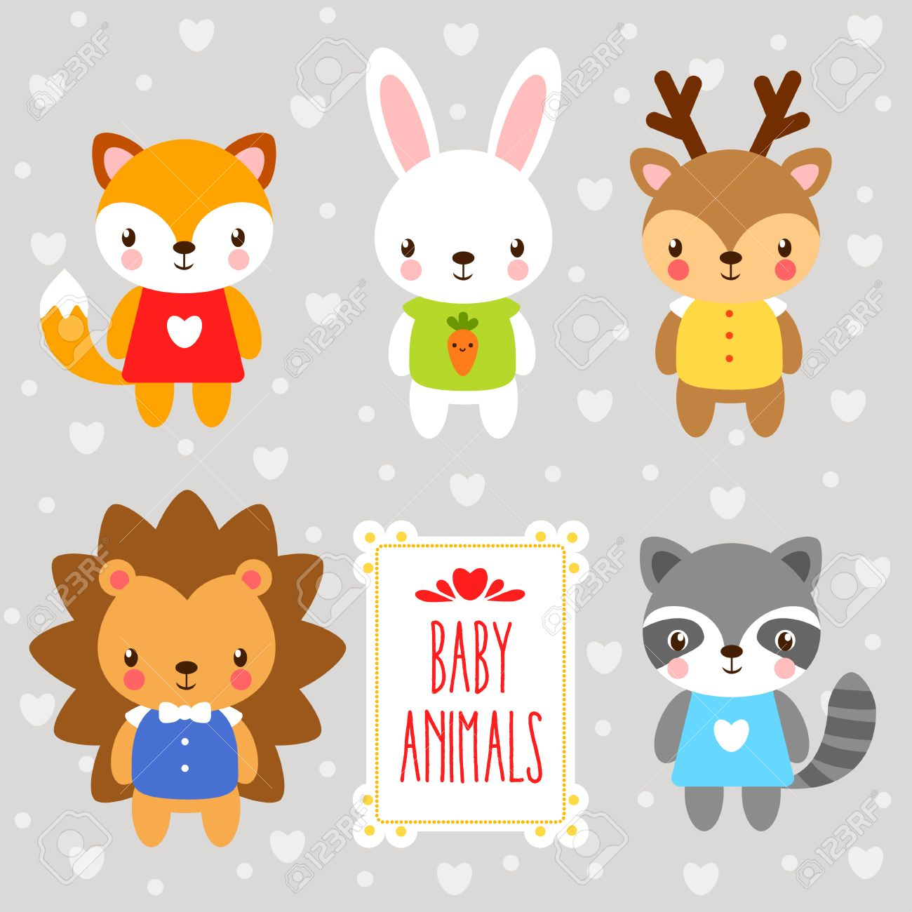 set of cartoon animals. set forest baby animals drawn in cartoon style on a gray background. - 52744155