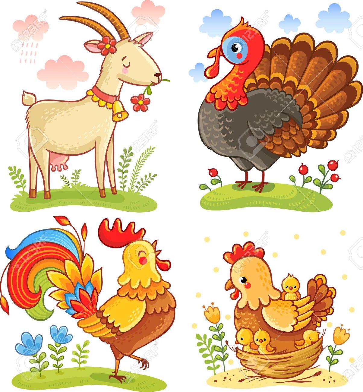 Vector set illustration with cute cartoon animal. - 53803525