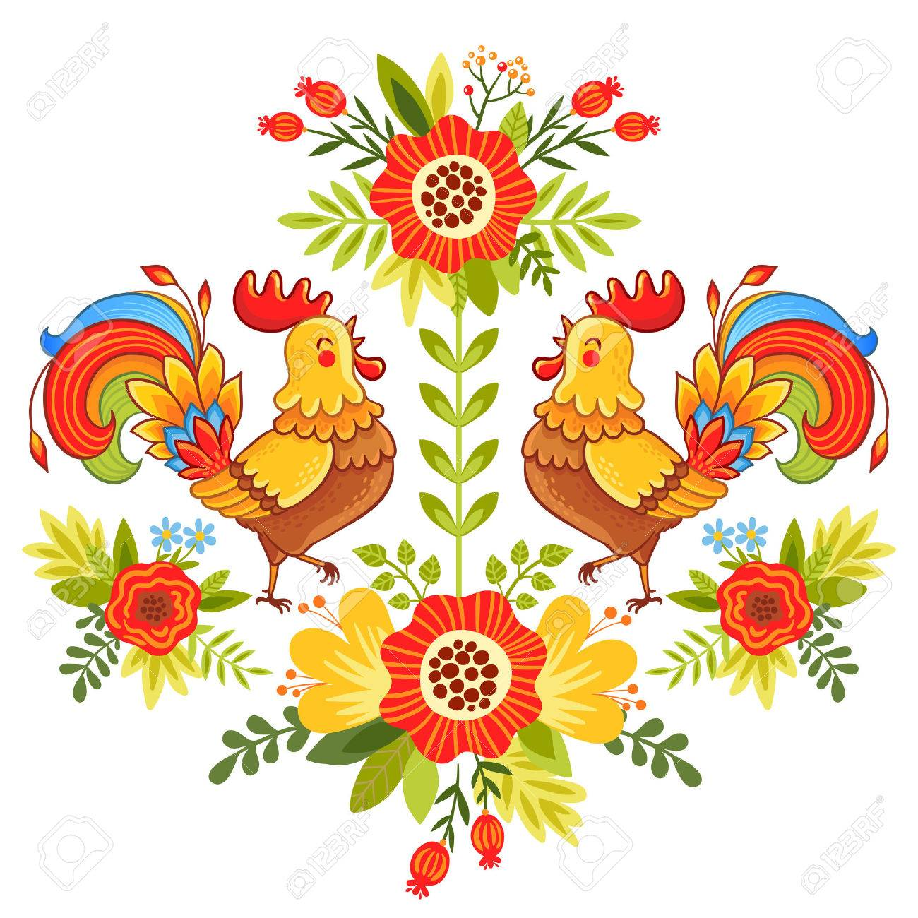 Vector illustration of bright and colorful roosters flower on a white background. - 53803535