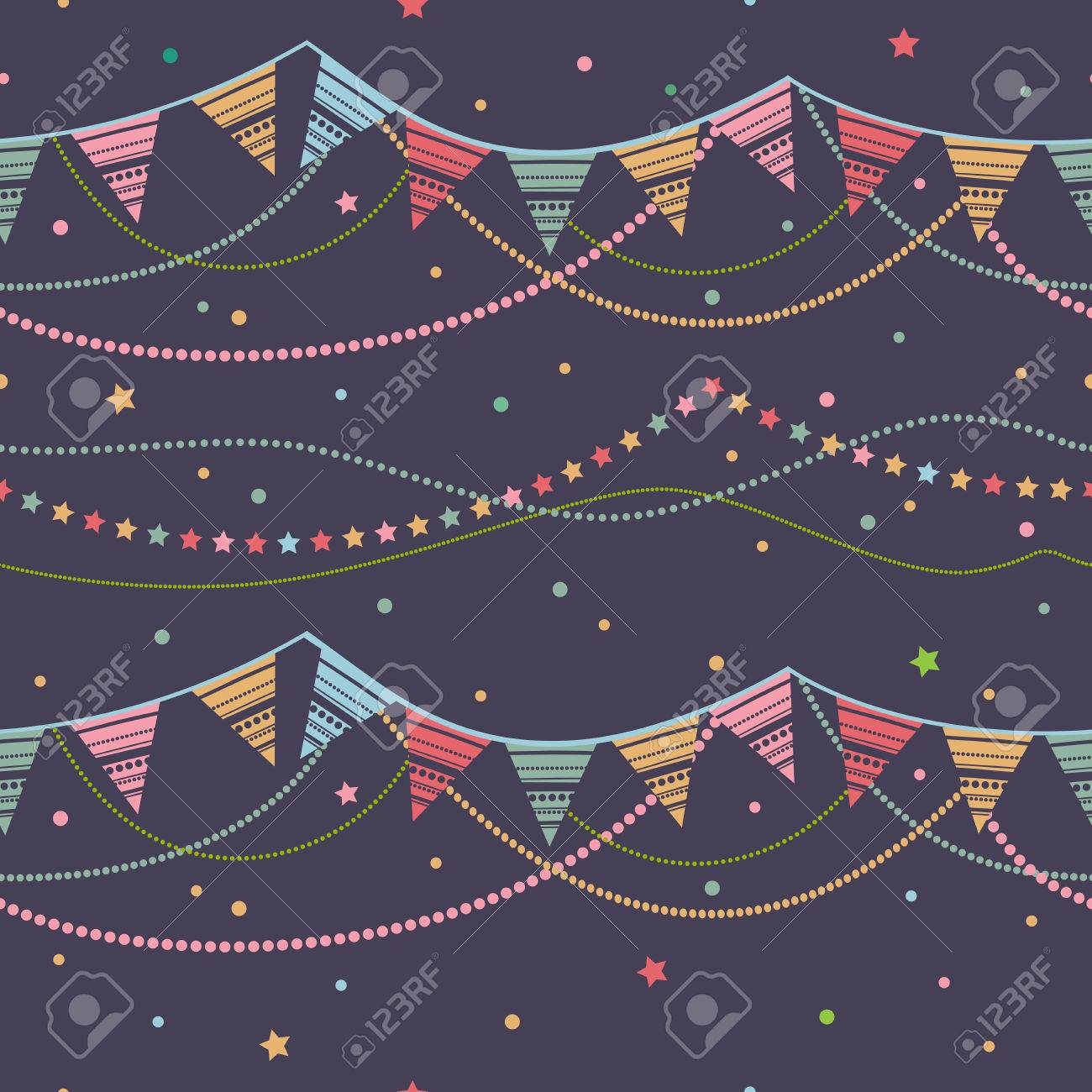 Party pennant bunting. Party seamless background. Vector seamless illustration with ribbons of festive flags. - 55533759