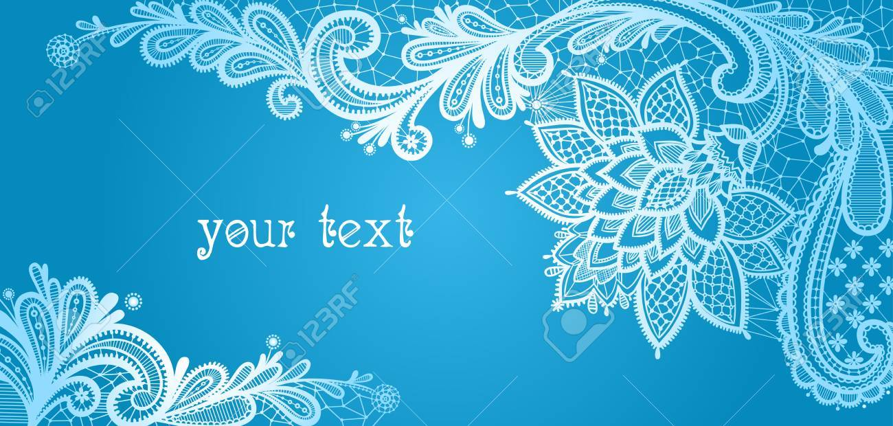 Vector - Winter. Lace background with a place for text. Blue and white lace  vector design. 5d034262c