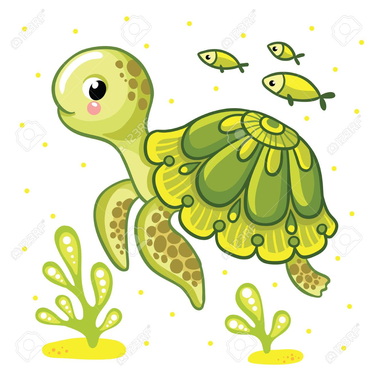 Cute cartoon turtle isolated. Turtle and fish on a white background, vector illustration. - 58386923