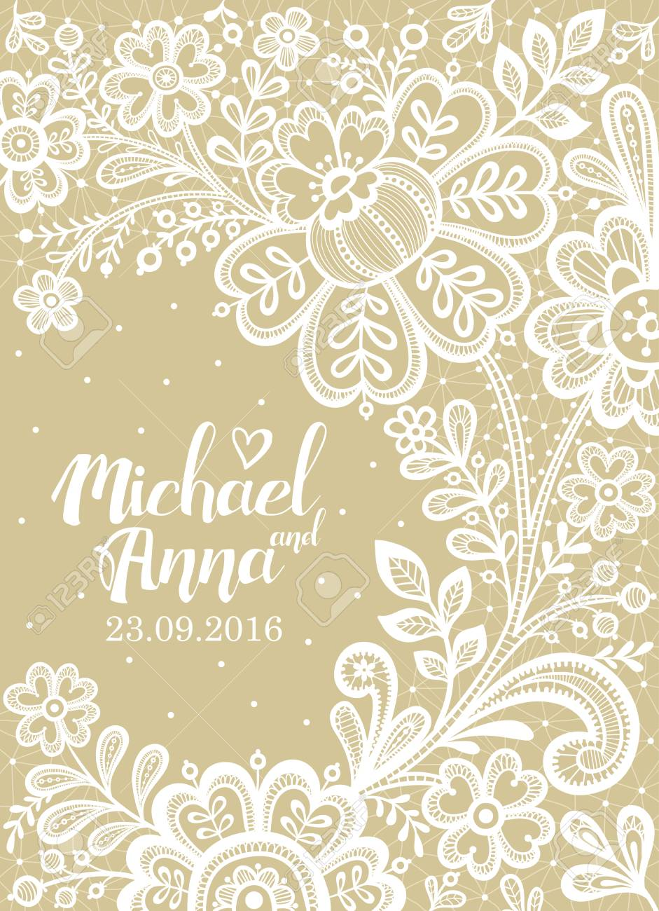 Vector greeting card. Lace. Card with a white lace. Floral Background Lace.  Wedding invitation lace. 7e8189fa9