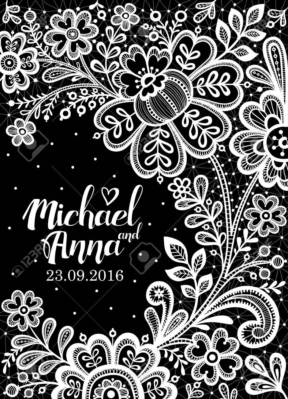 Black And White Lace Floral Background Lace Wedding Invitation