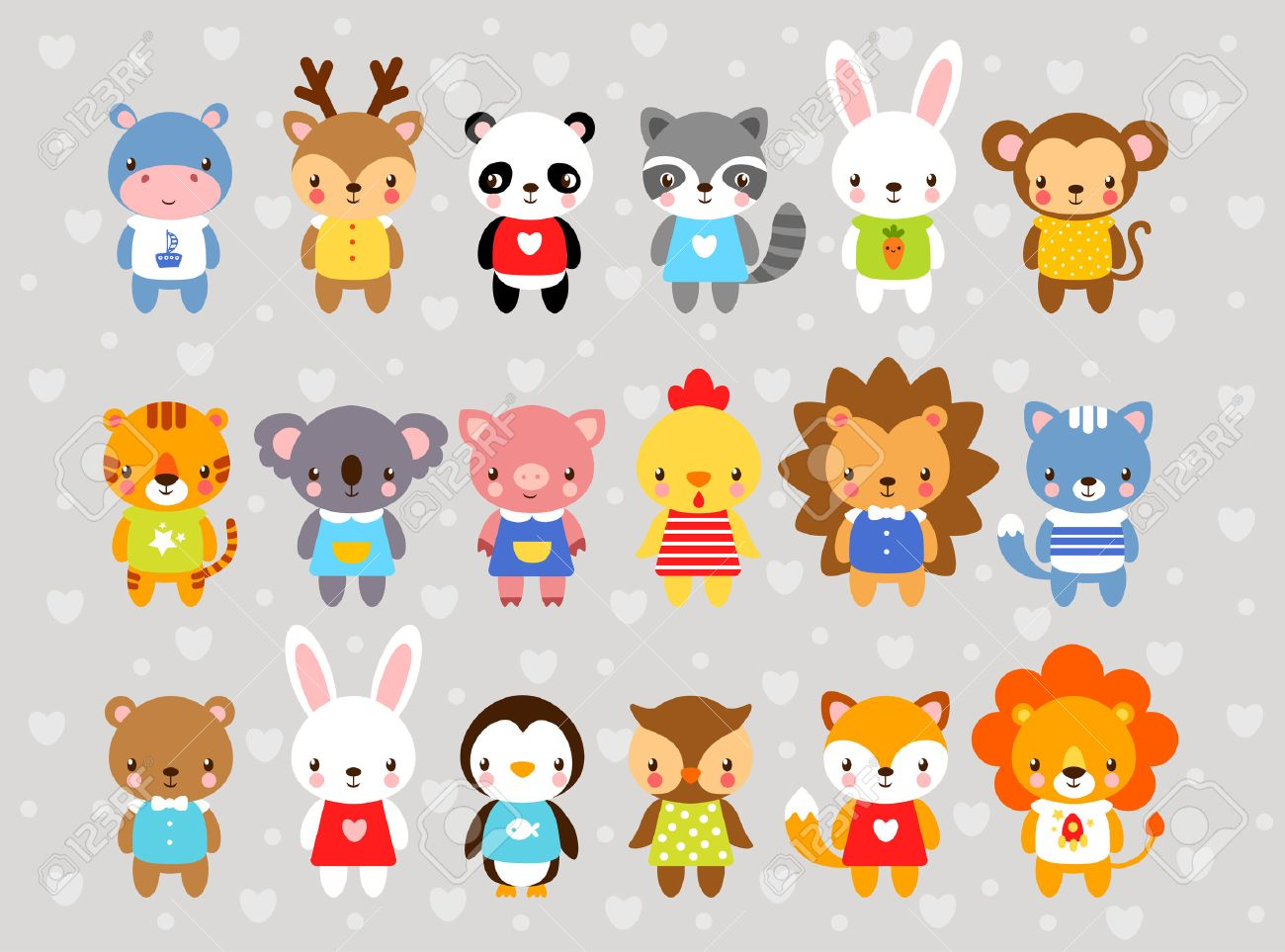 Set of vector animals in cartoon style. Cute animals on a gray background. A collection of small animals in the children's style. Africa, tropics, antarctica, farm, forest. - 60483700