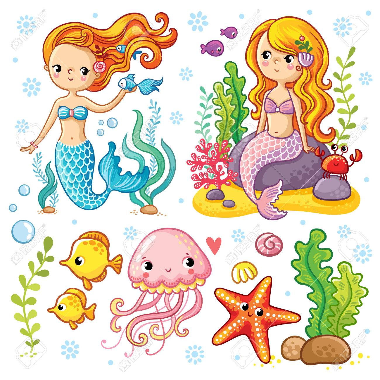 Vector set on the marine theme with mermaids and sea animals made in cartoon style. Mermaid with fish. Mermaid with fish and crab sitting on the rocks. Jellyfish and starfish with seaweed. - 60483711
