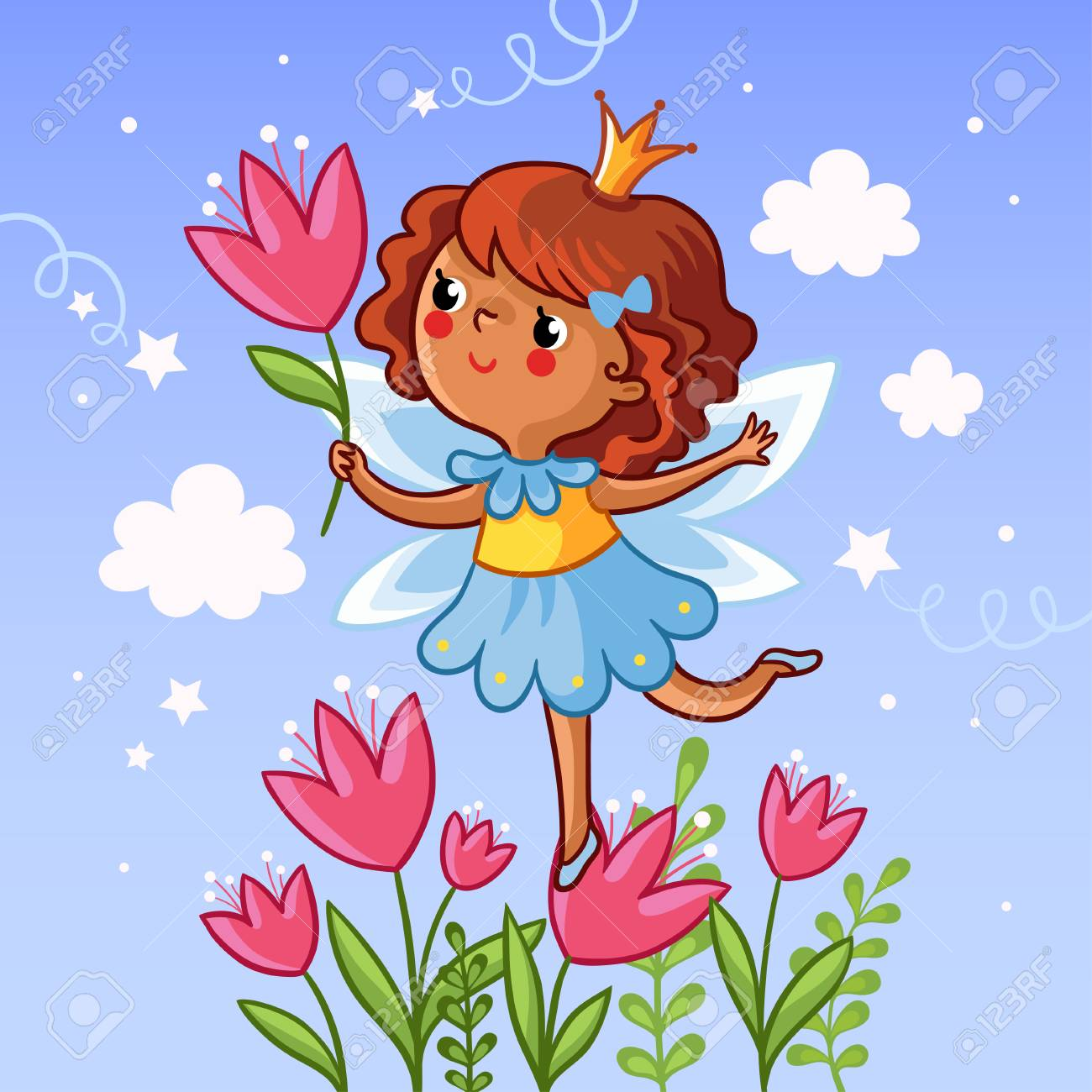 Cute little girl on a flower. The girl with a flower in her hand on the cloudy background. Vector illustration. Drawing on children theme. Little princess on a flower. Girl with tulips. - 60483735