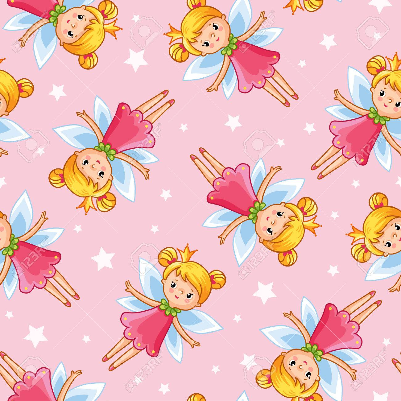 Vector Seamless Illustration Of A Young Cute Little Fairy Wallpaper