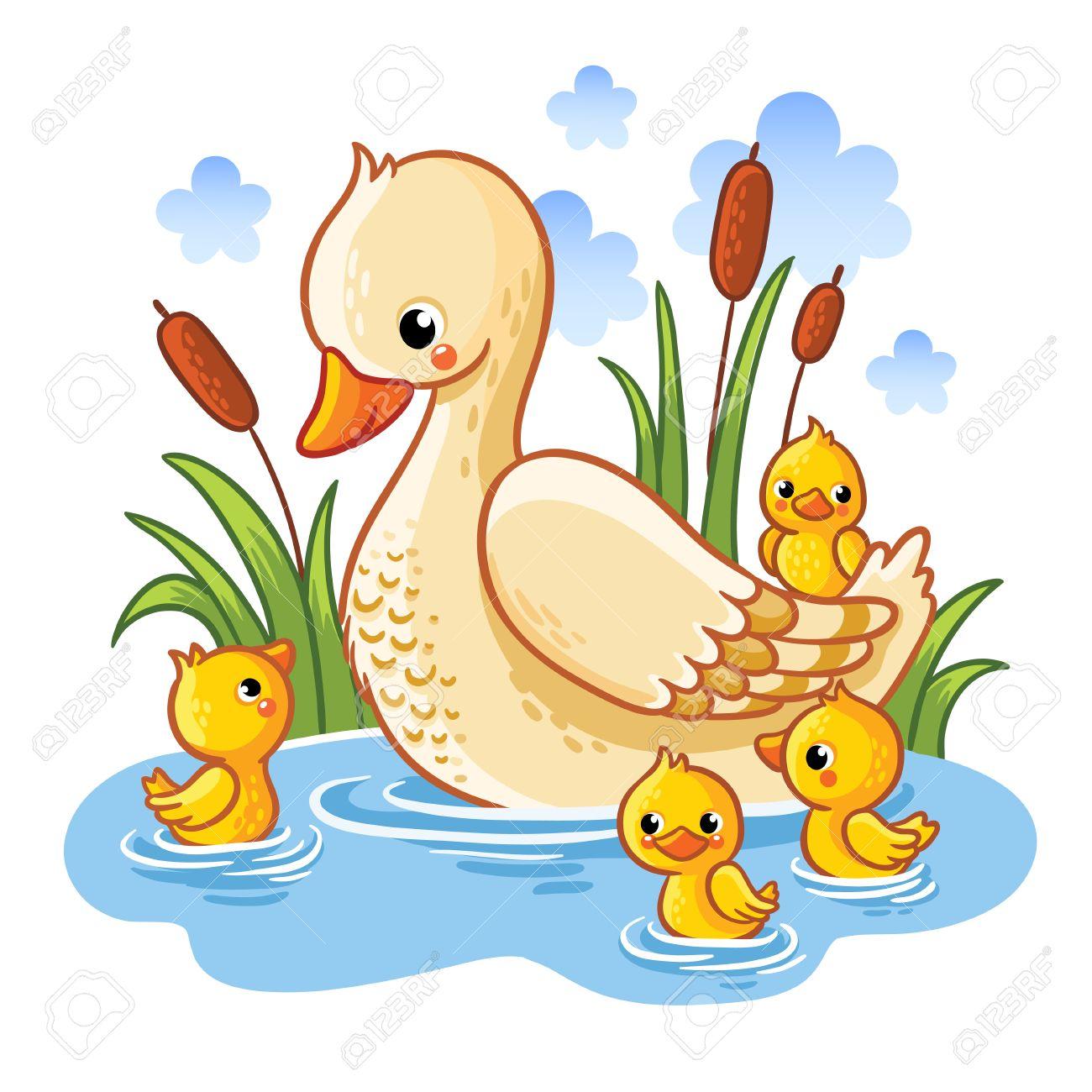 ilustración del vector de un pato y patitos madre de pato nada en