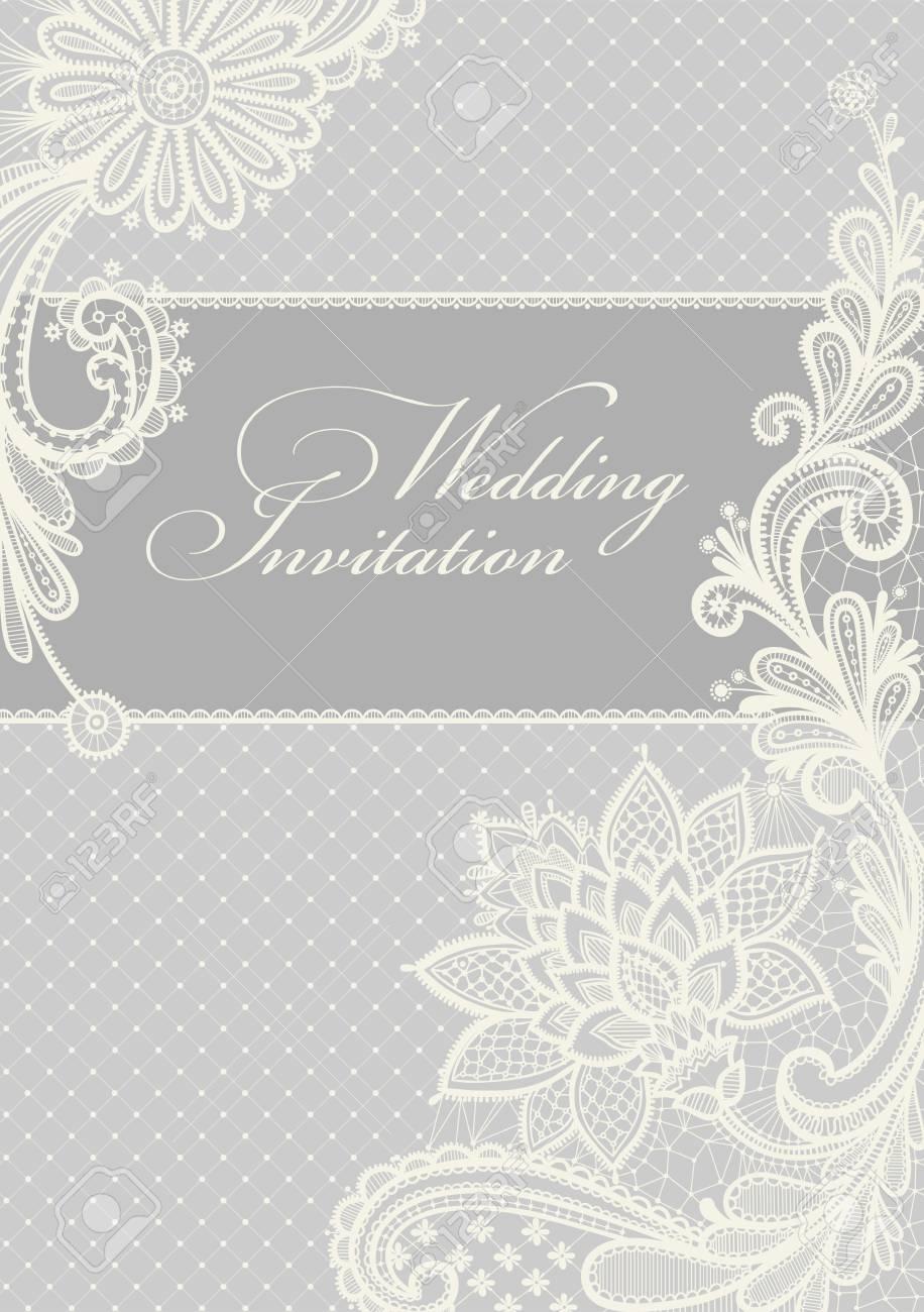 Hochzeitseinladung Lace Hintergrund Mit Einem Platz Fur Text