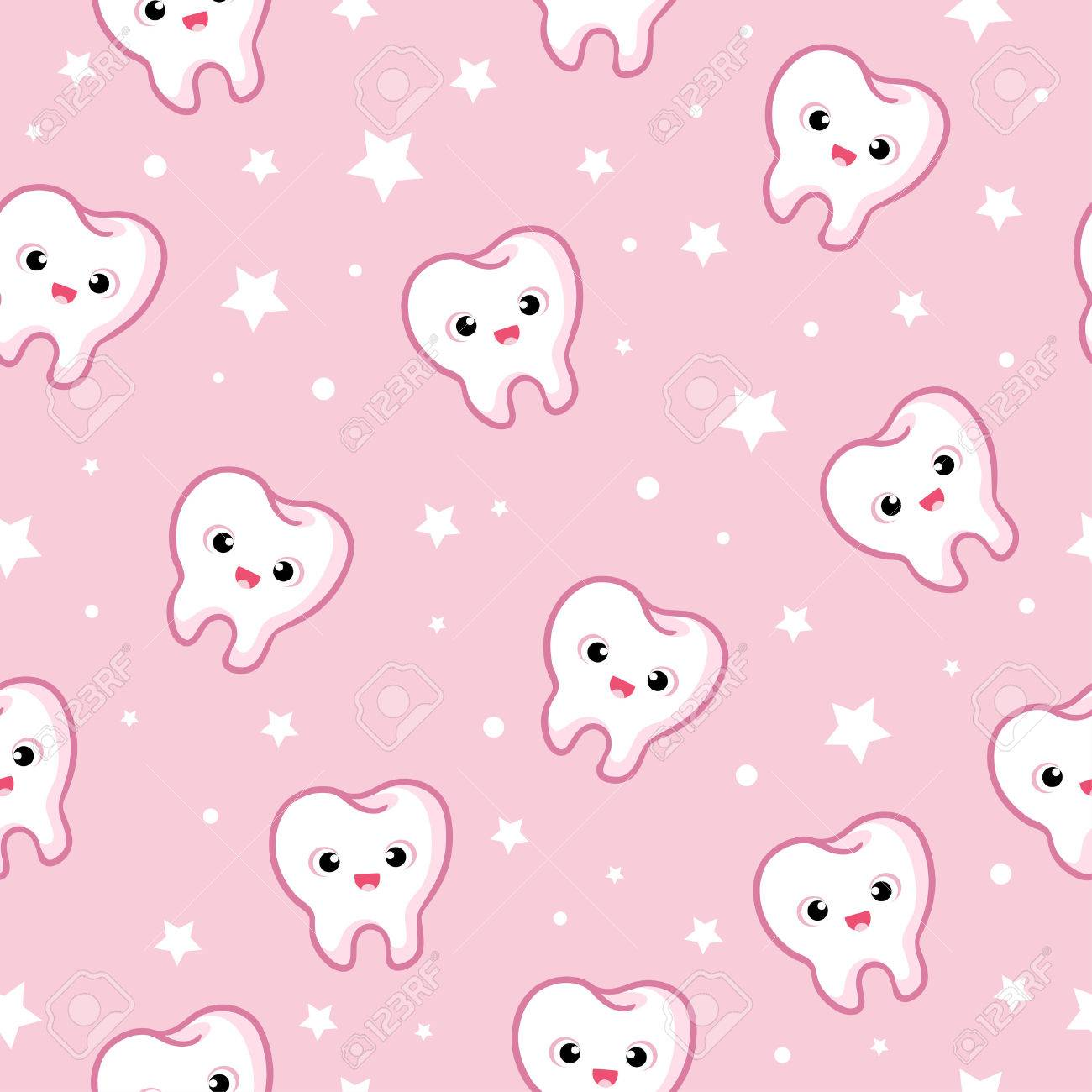 seamless illustration with teeth on a pink background - 60616987