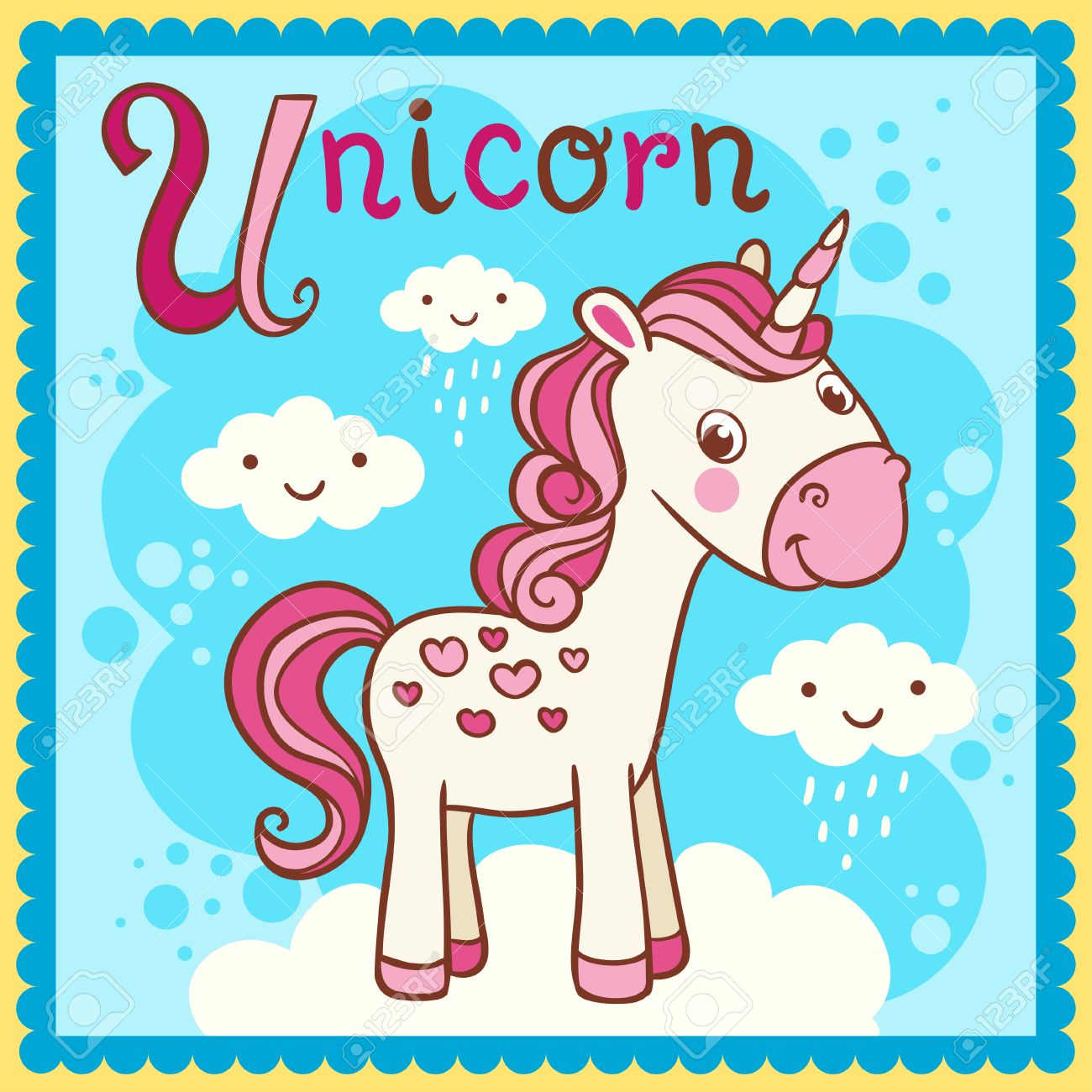 Illustrated alphabet letter U and unicorn. Vector picture with cartoon animals. - 61406865