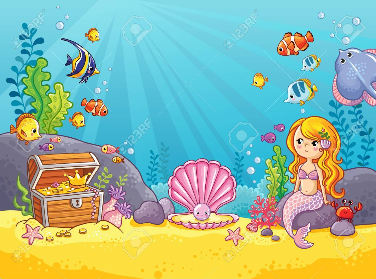 Vector background with an underwater world in a children's style. A mermaid is sitting on a rock. Wooden chest with gold on the bottom of the sea. Seabed in a cartoon style. - 74728517