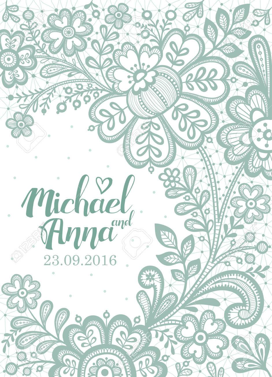 Floral Background Lace. Wedding Invitation Card. Vector Greeting ...