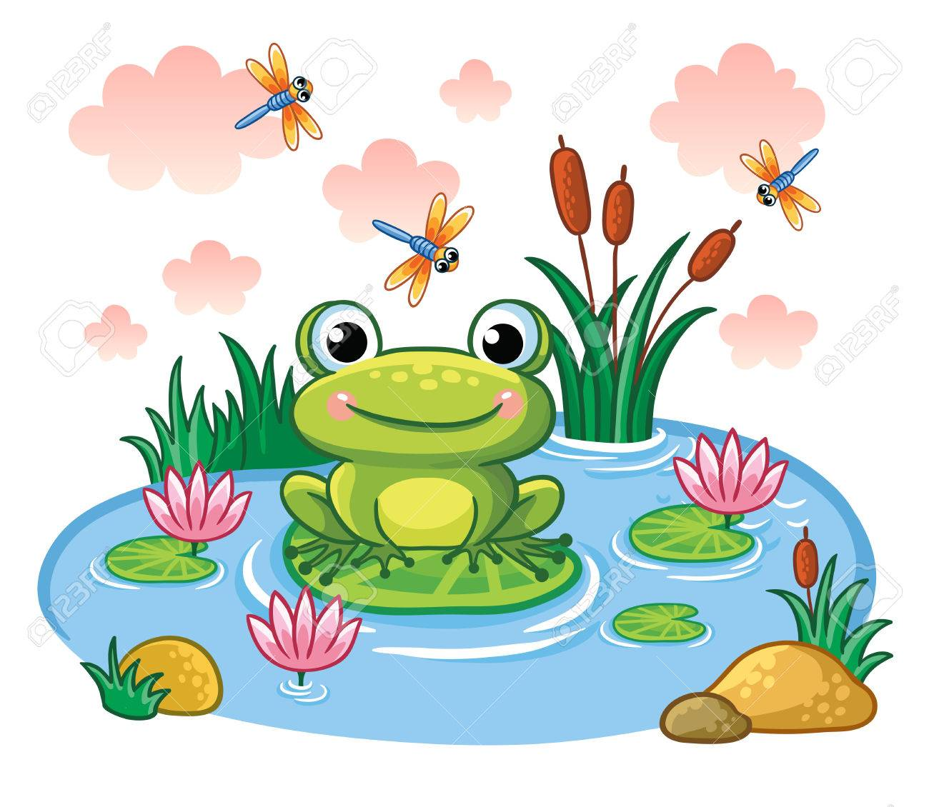 the frog sits on a leaf in the pond vector illustration in rh 123rf com Frog Silhouette Frog Silhouette