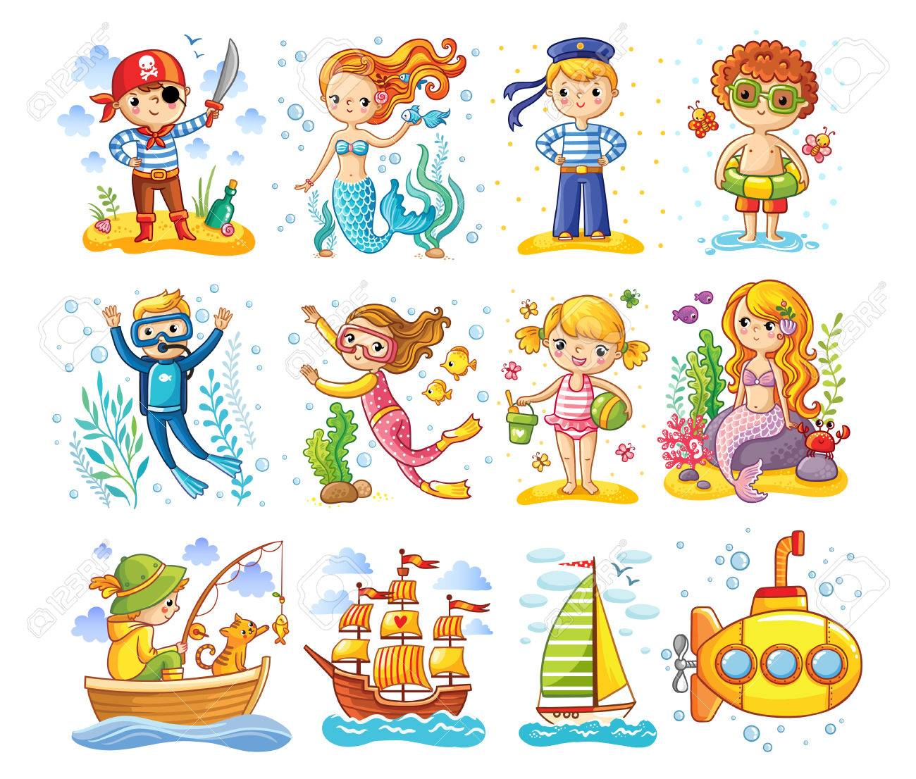 Vector set on a sea theme. A collection of children in cartoon style. - 78506379