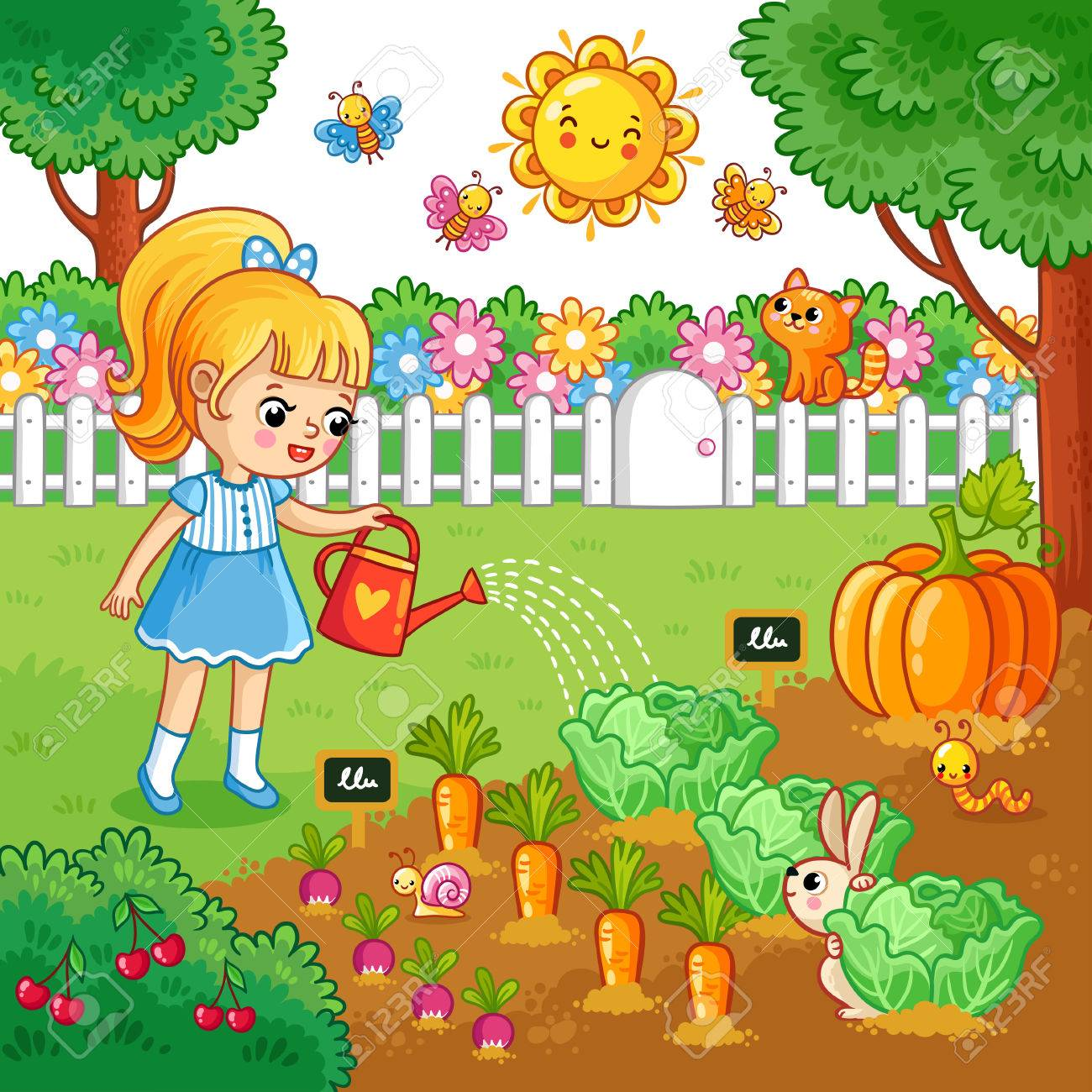 girl is watering garden bed with vegetables vector illustration