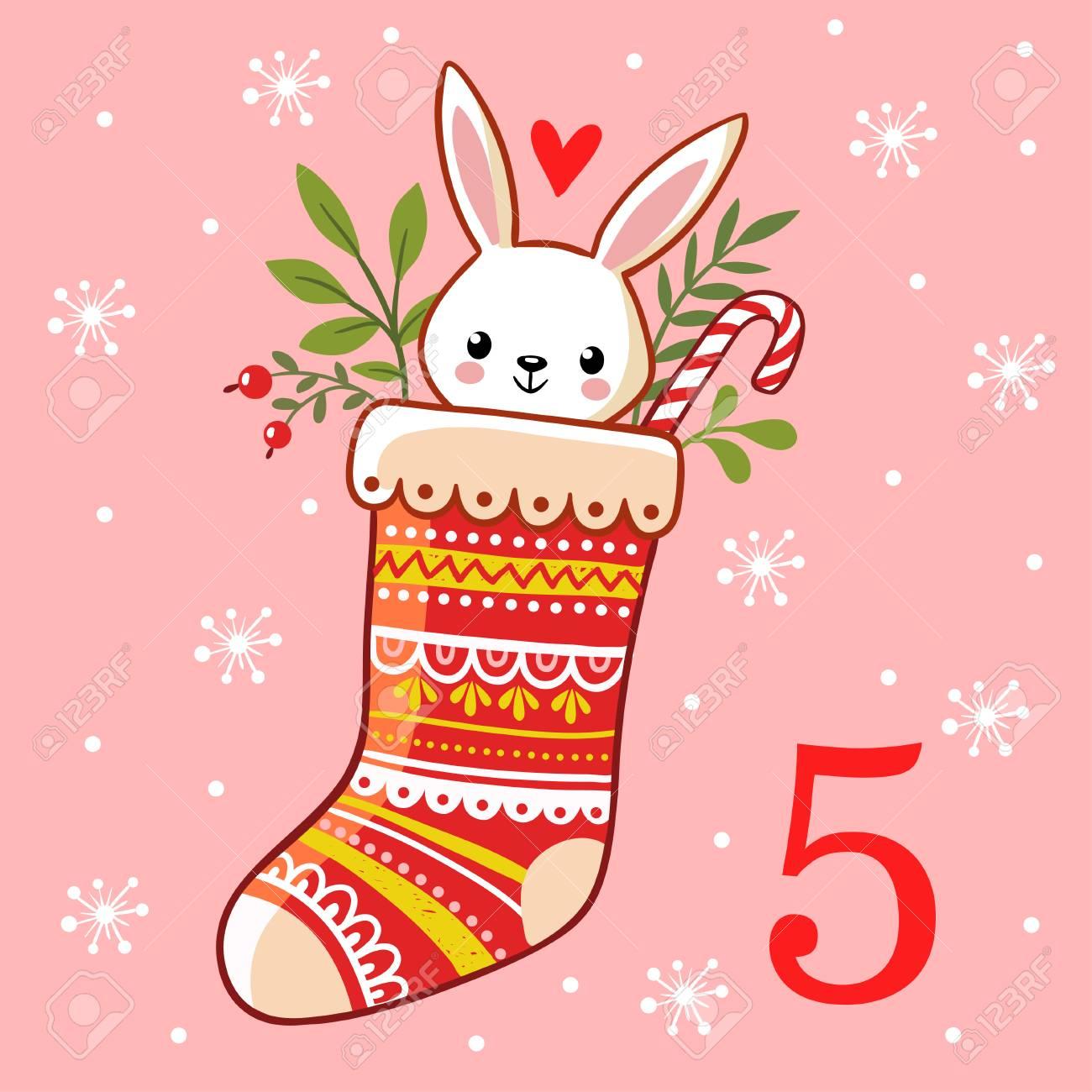 Calendario Di Avvento Per Bambini.Vector Calendario Di Avvento Di Natale In Stile Bambini La Lepre E Seduta In Un Calzino Di Natale Illustrazione Con Un Coniglio Sveglio