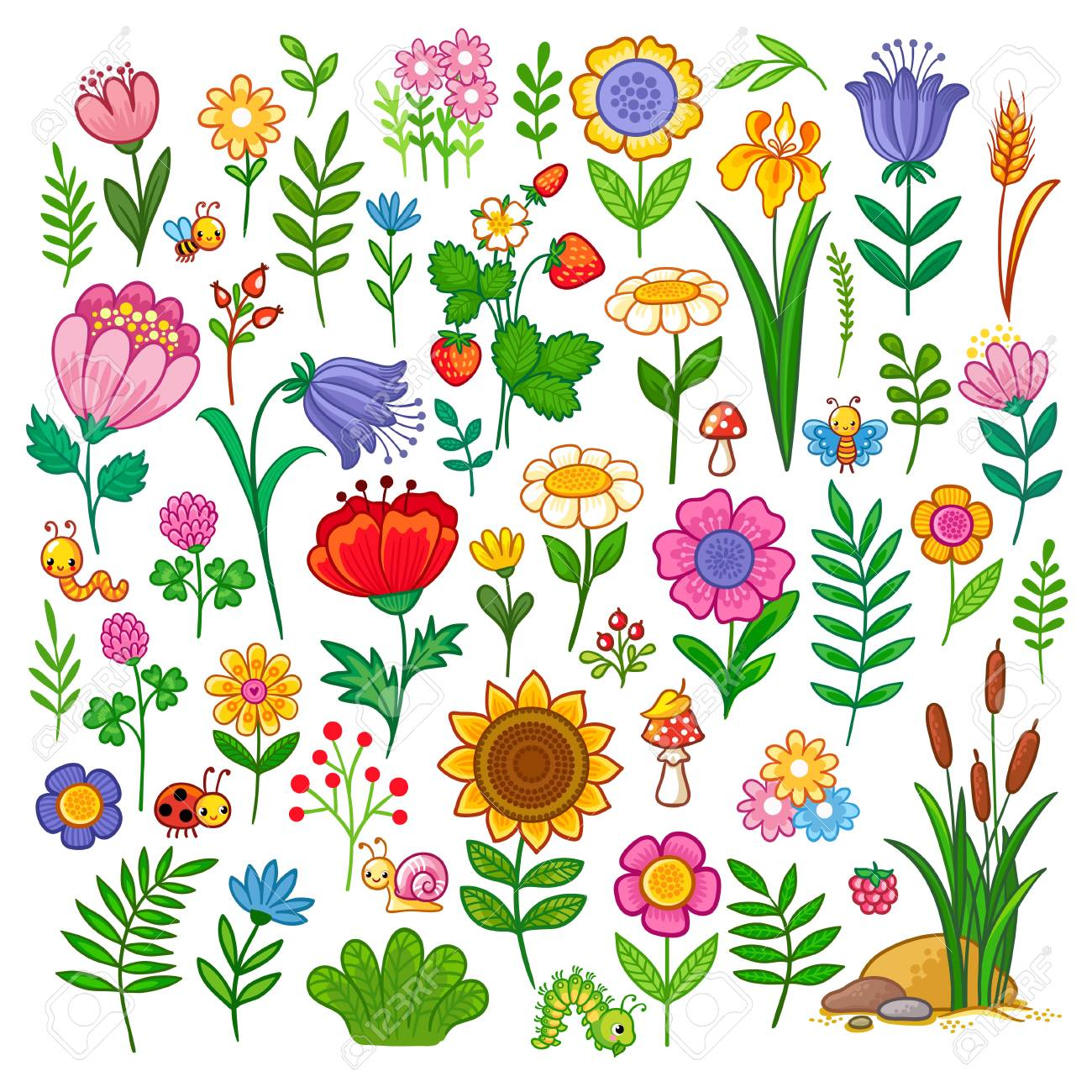 Vector set with flowers. A sweet collection of insects and plants in the children's cartoon style. - 88856886