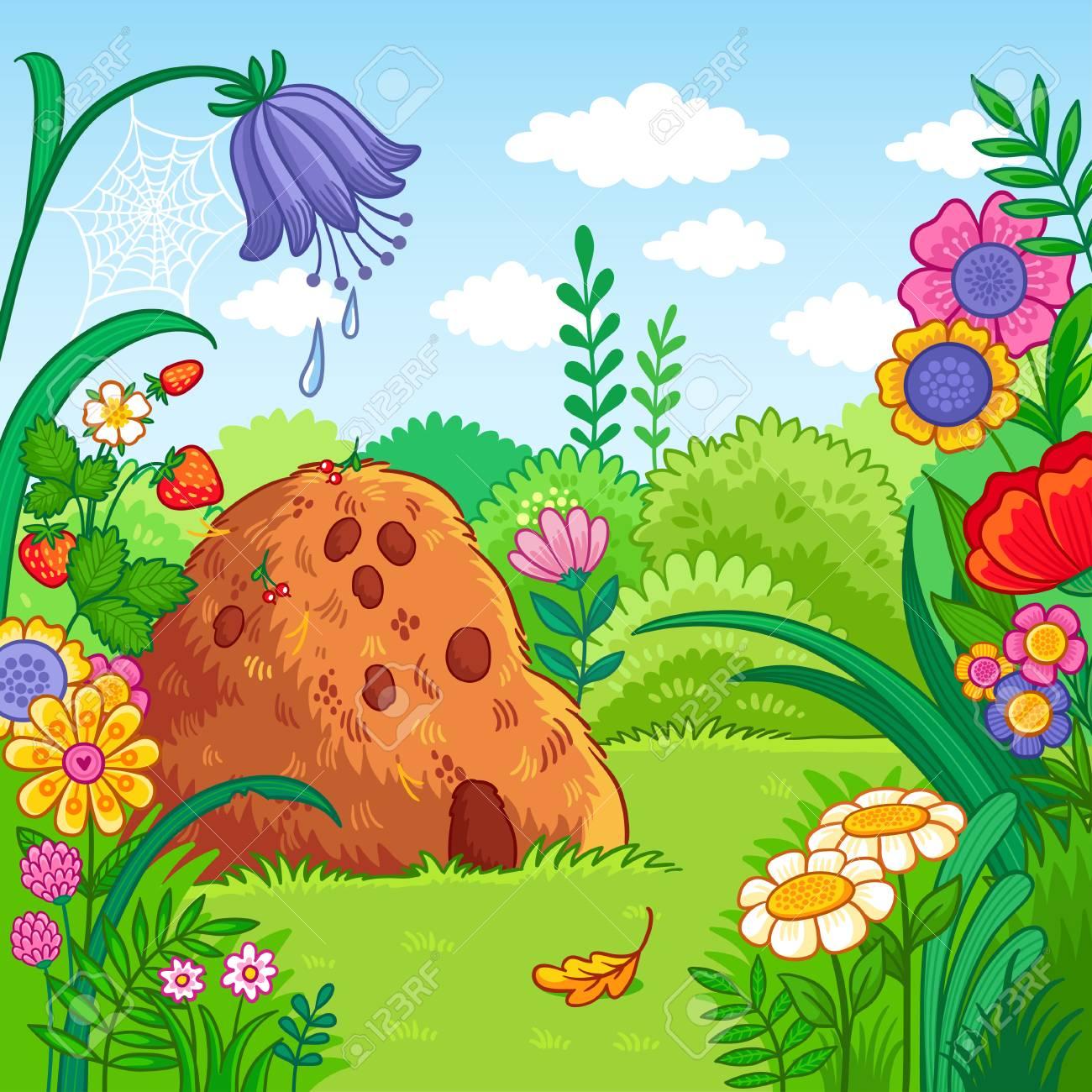 Ilustración De Vector Con Un Hormiguero Y Plantas Naturaleza En El Estilo De Dibujos Animados Para Niños
