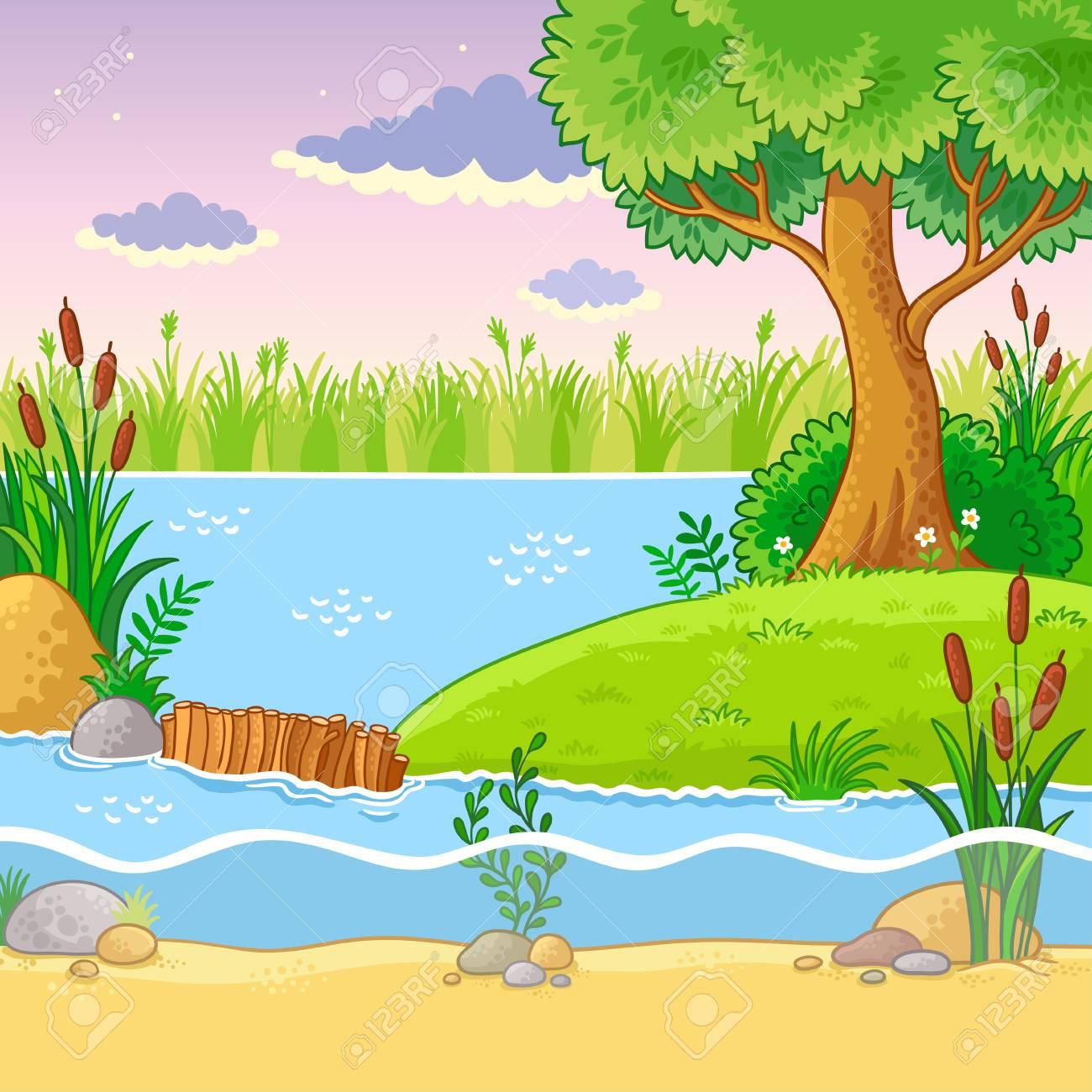 ビーバーのダムのベクター イラストです漫画のスタイルの自然